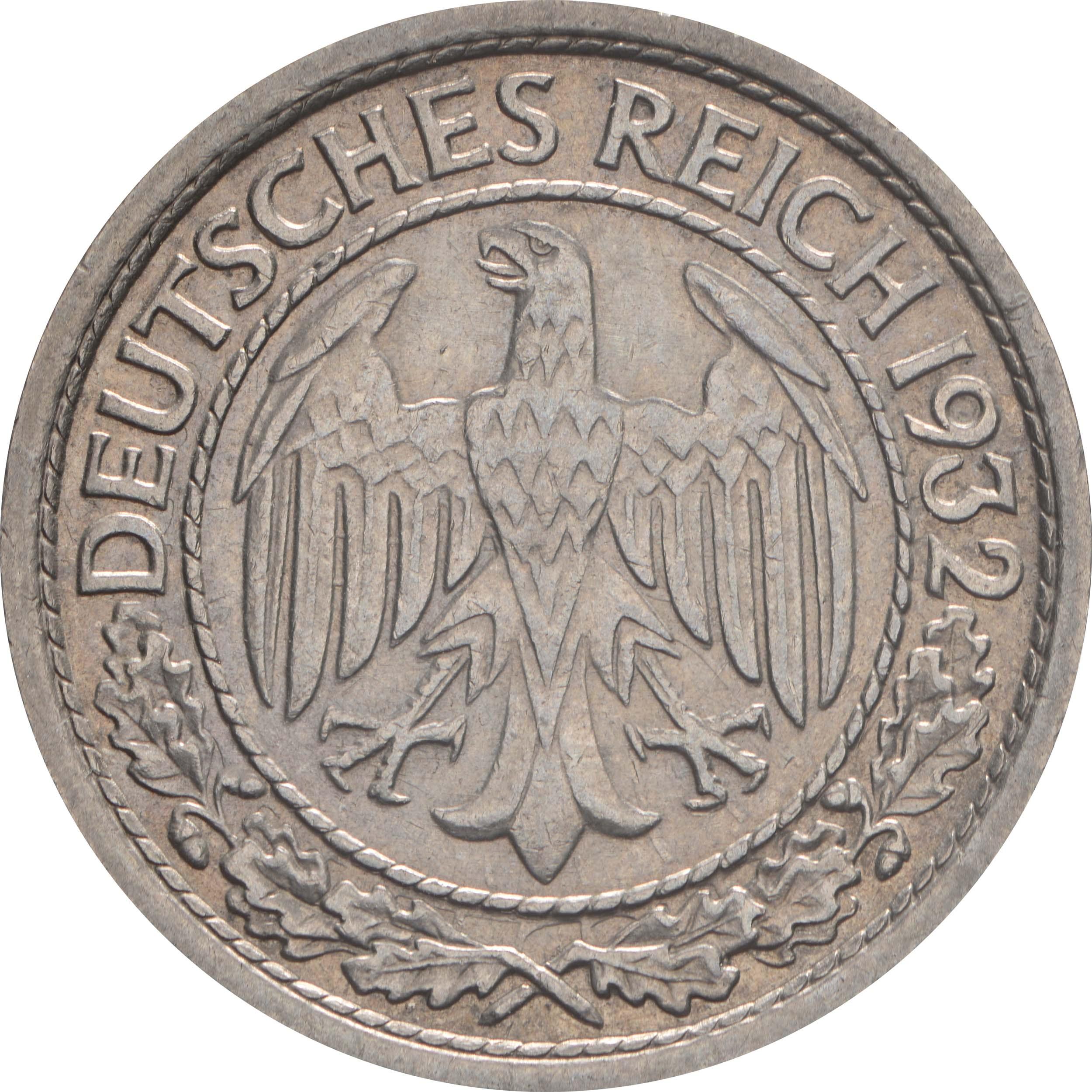 Rückseite:Deutschland : 50 Reichspfennig Kursmünze  1932 vz.