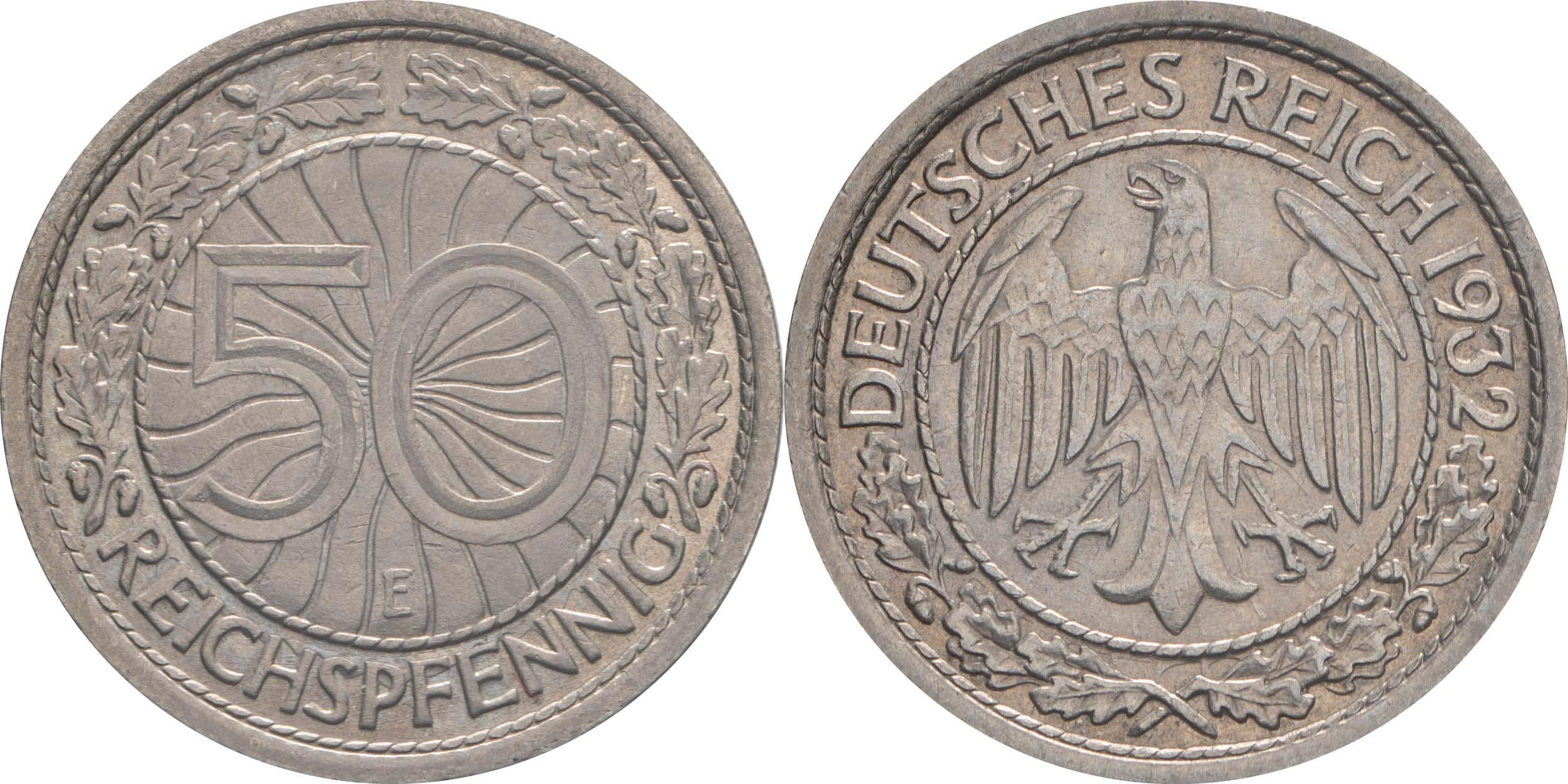 Deutschland : 50 Reichspfennig Kursmünze  1932 vz.