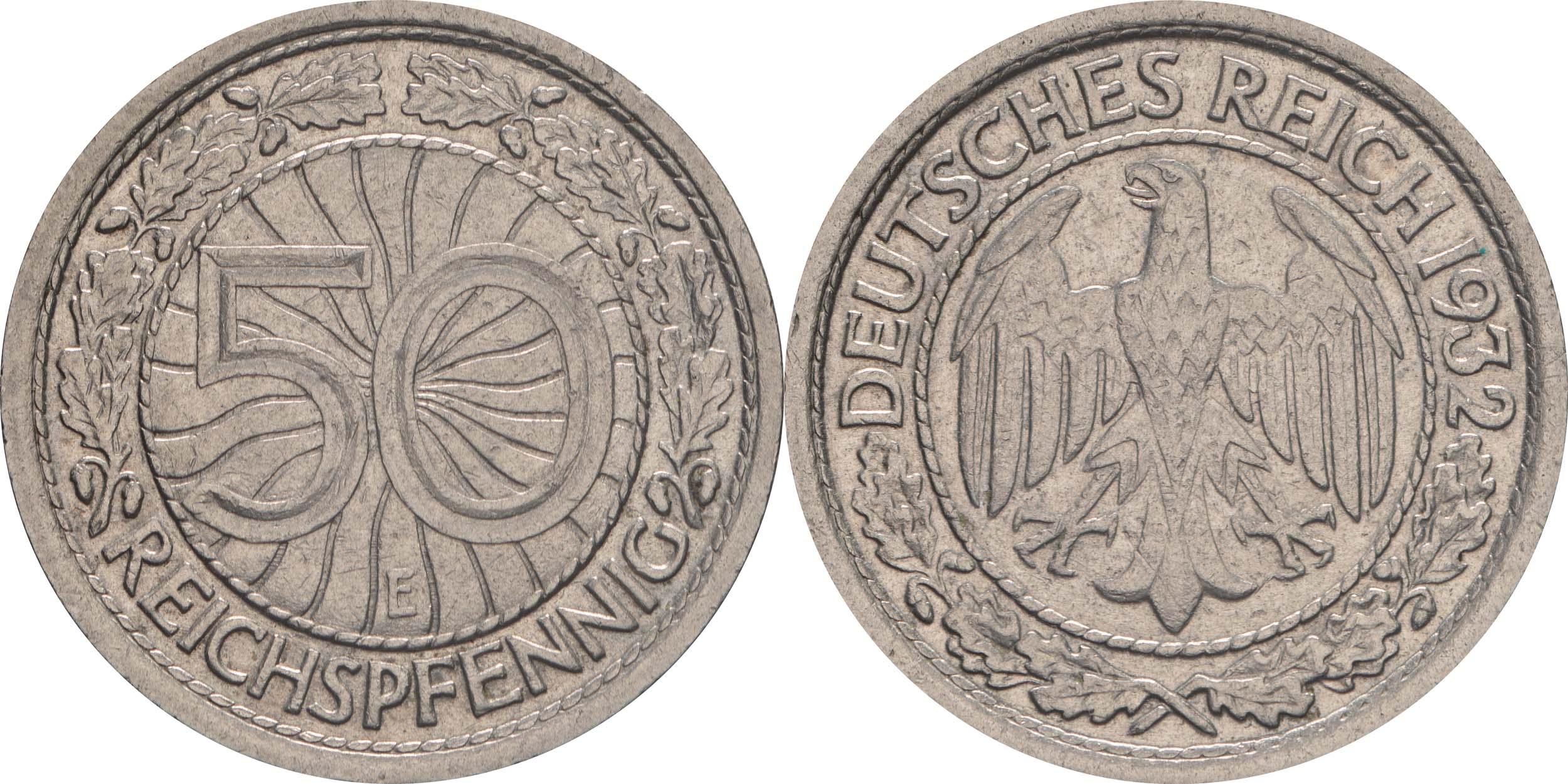 Übersicht:Deutschland : 50 Reichspfennig Kursmünze  1932 vz.