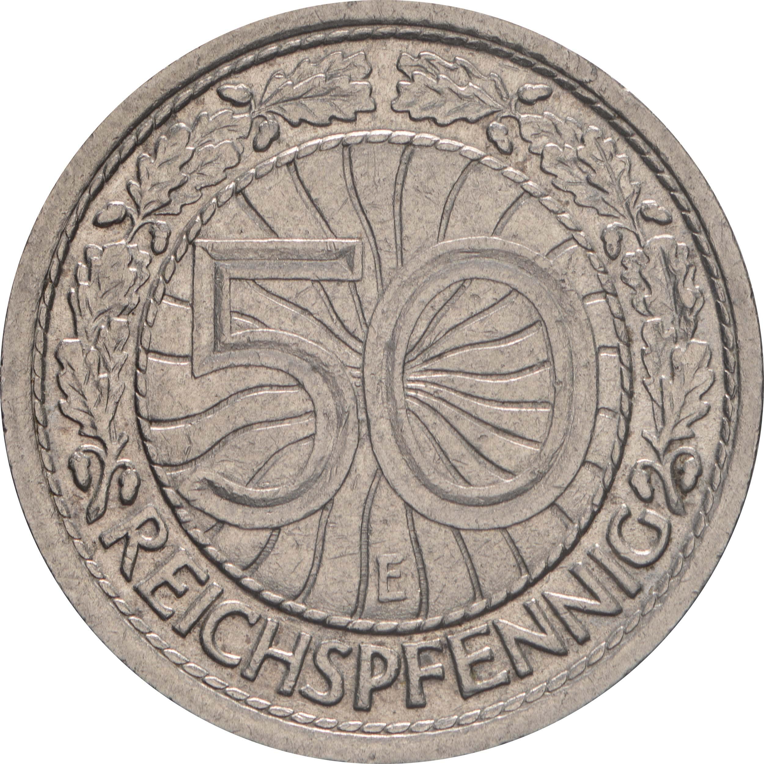 Vorderseite:Deutschland : 50 Reichspfennig Kursmünze  1932 vz.