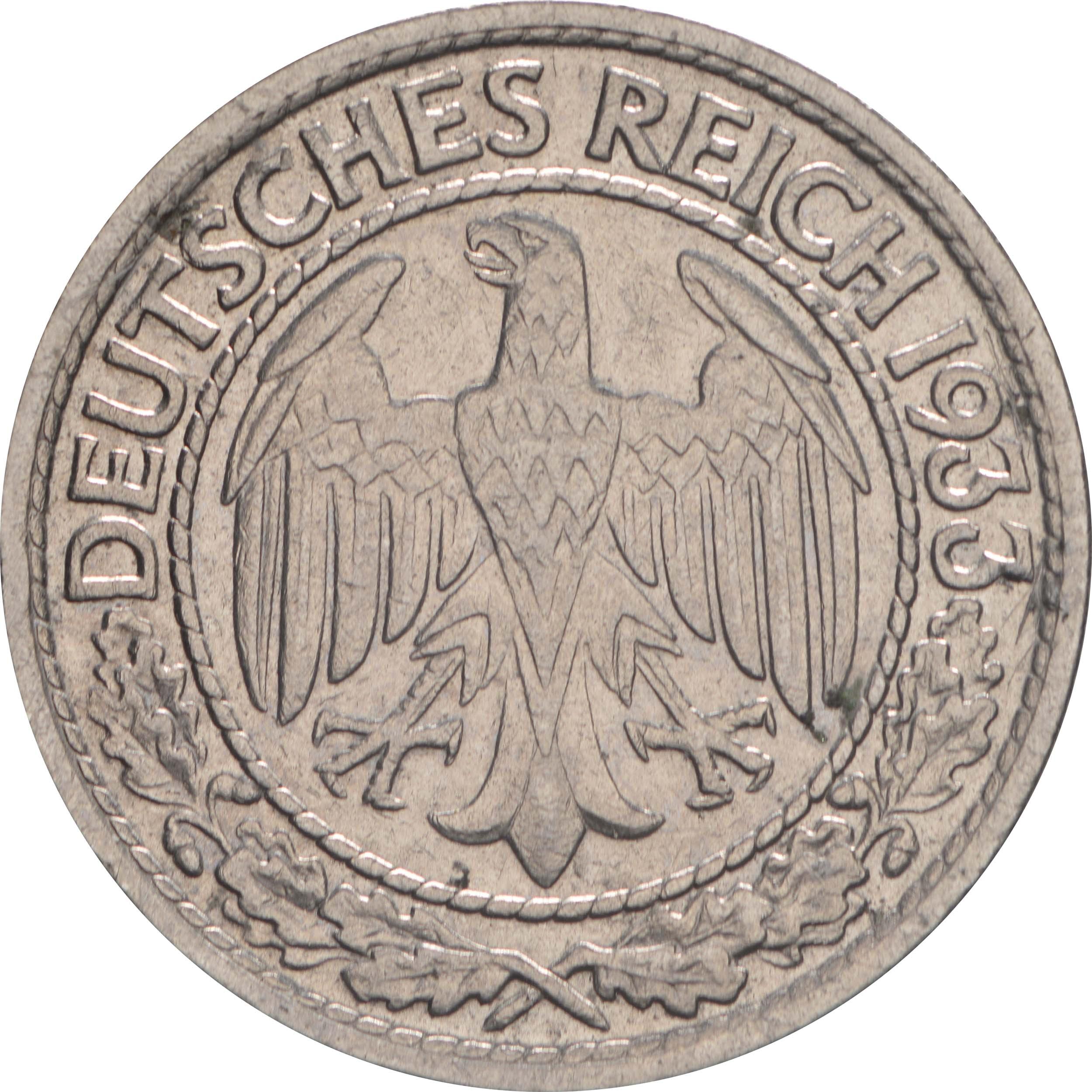Rückseite:Deutschland : 50 Reichspfennig Kursmünze  1933 vz.