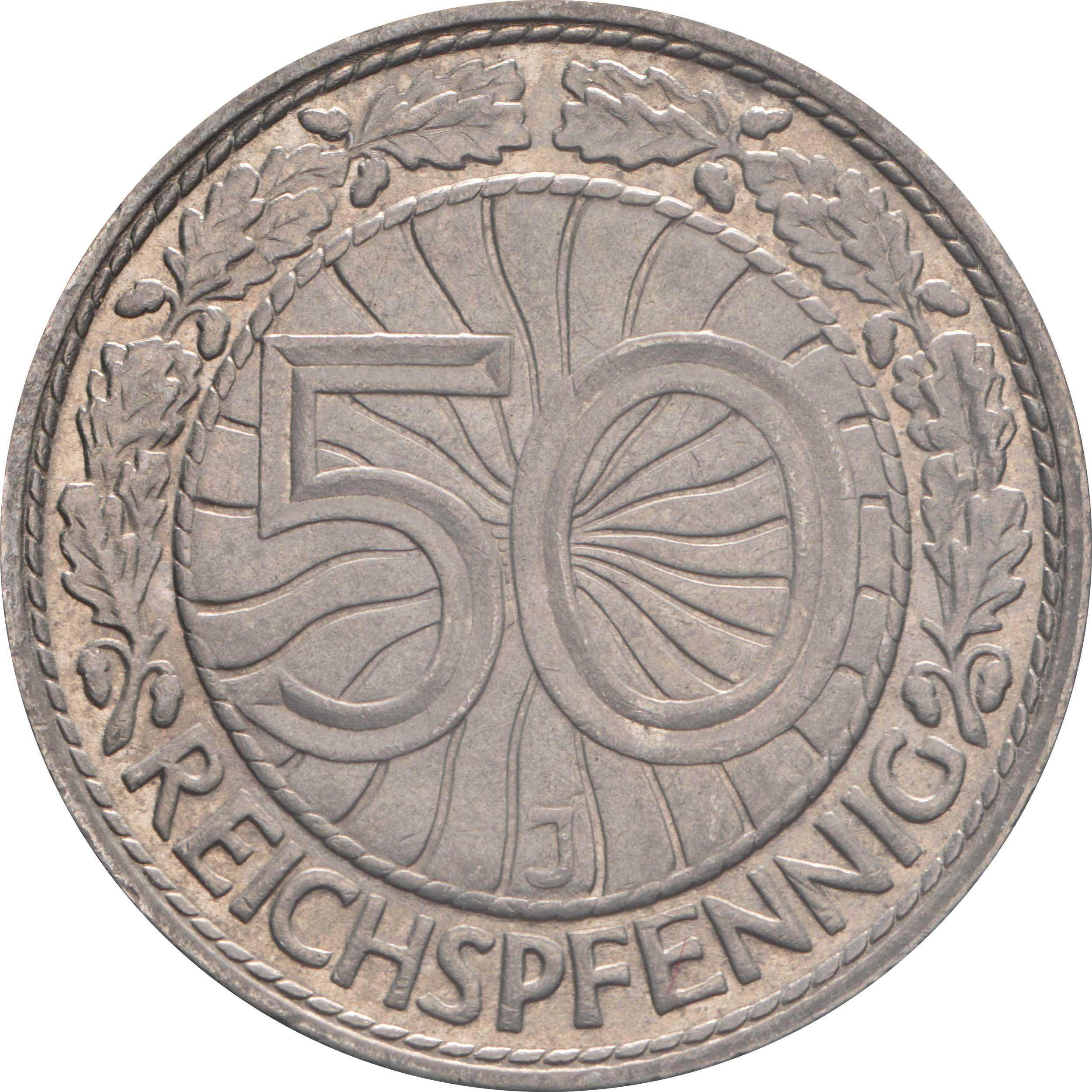 Vorderseite:Deutschland : 50 Reichspfennig Kursmünze  1933 vz.