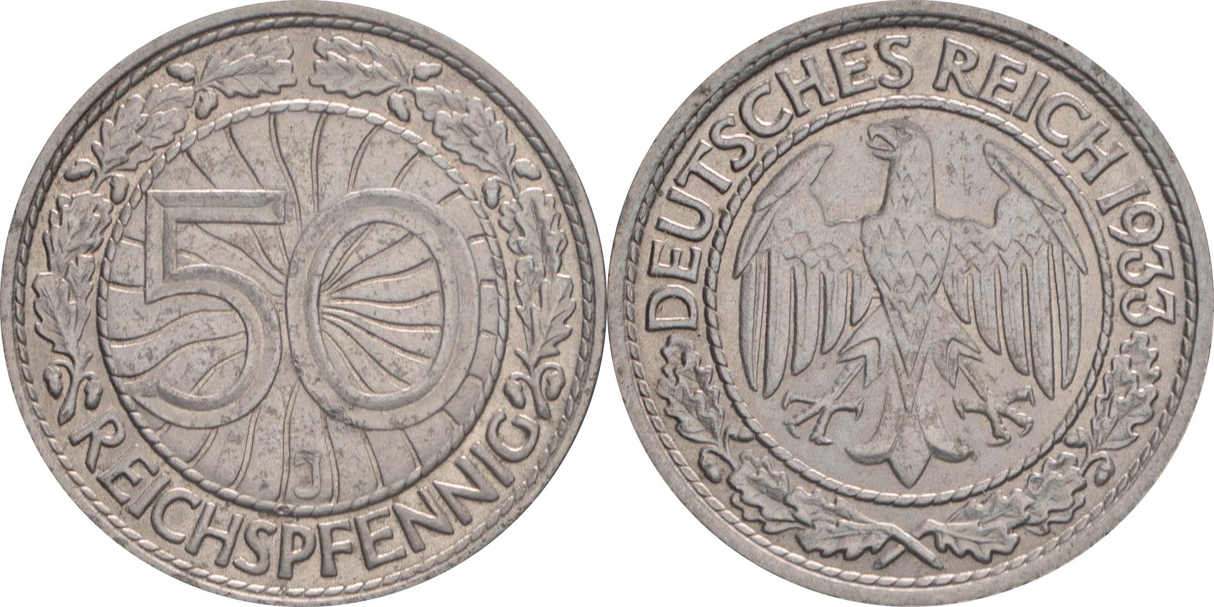 Deutschland : 50 Reichspfennig Kursmünze  1933 vz/Stgl.