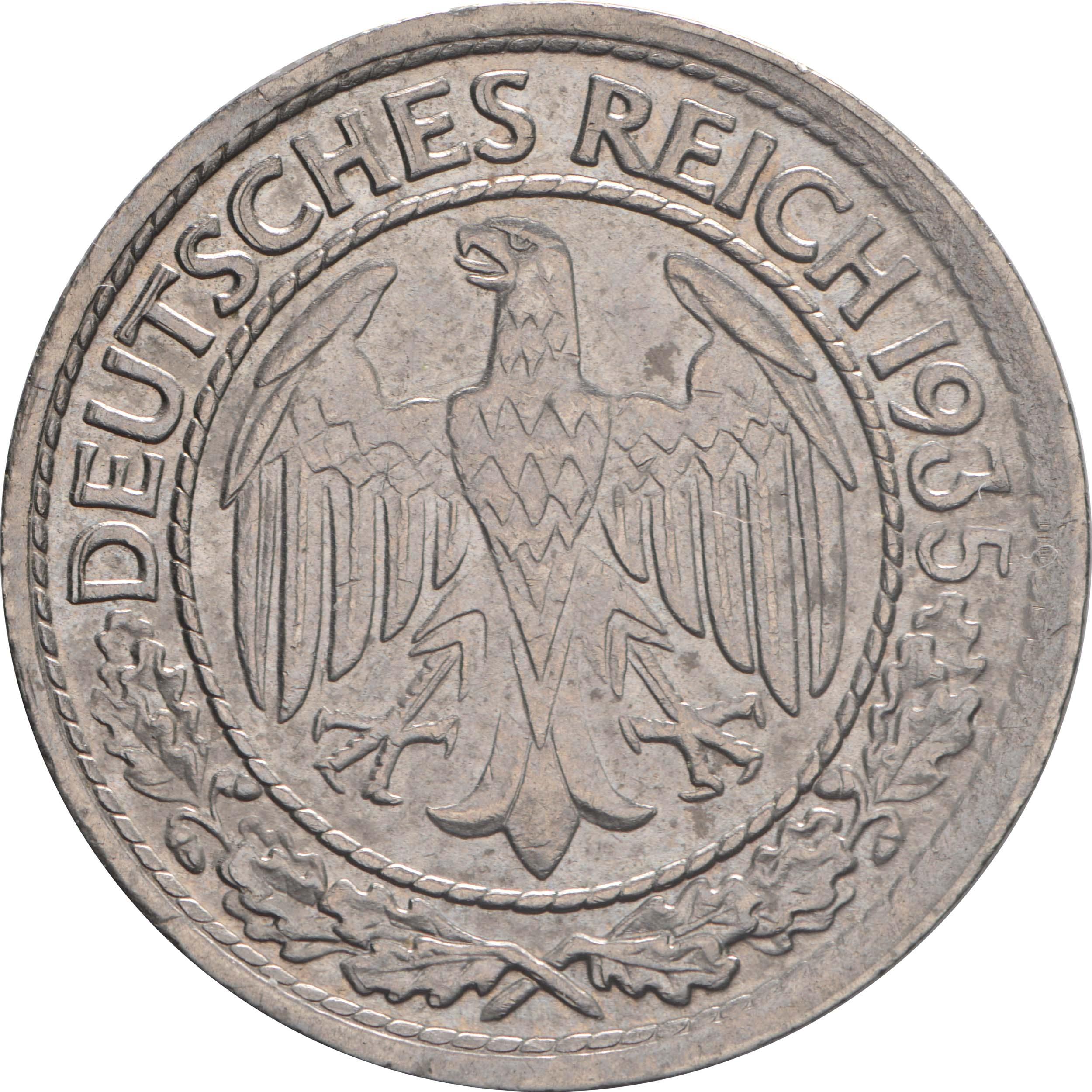 Rückseite:Deutschland : 50 Reichspfennig Kursmünze  1935 vz.