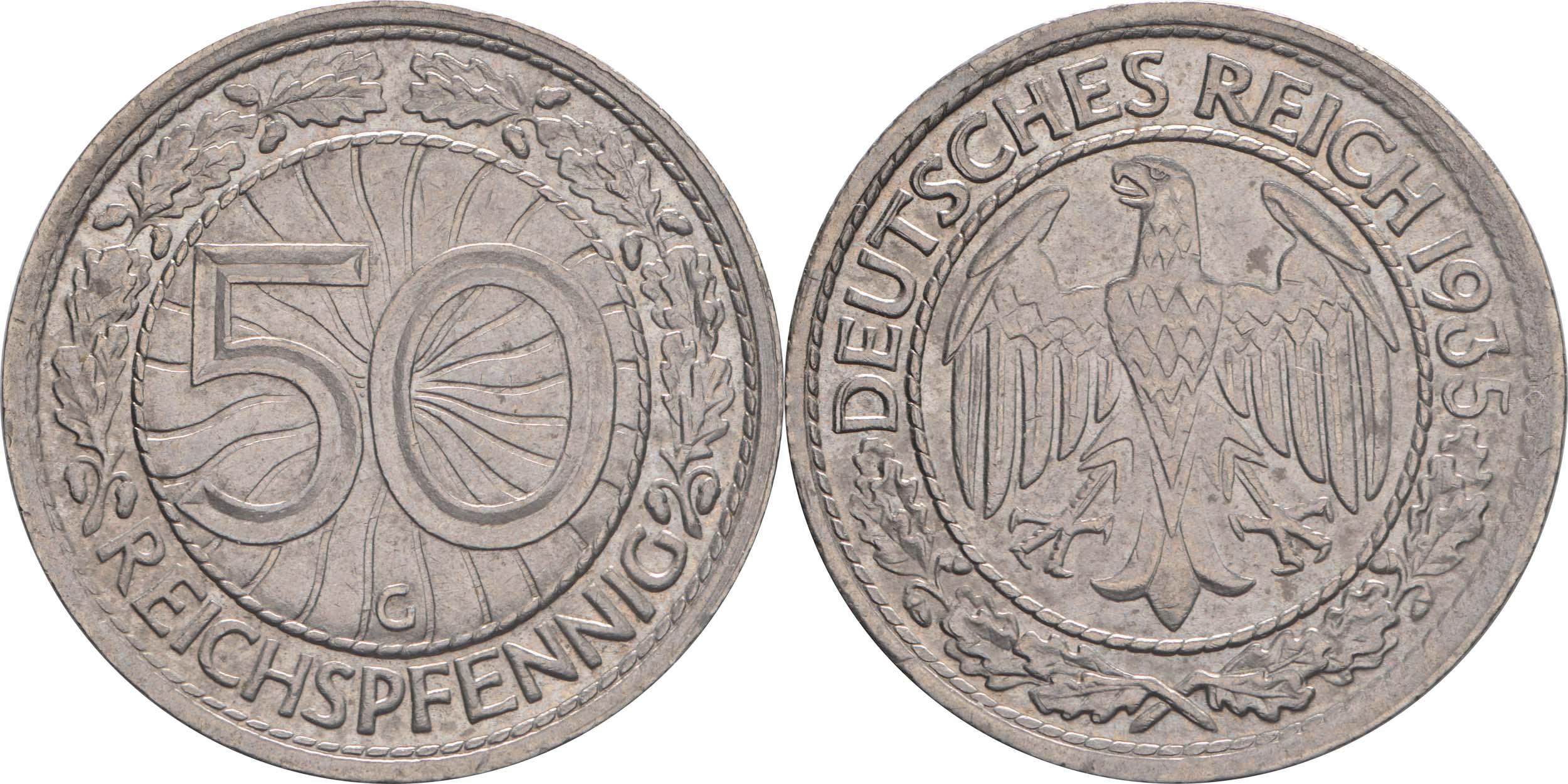 Deutschland : 50 Reichspfennig Kursmünze  1935 vz.