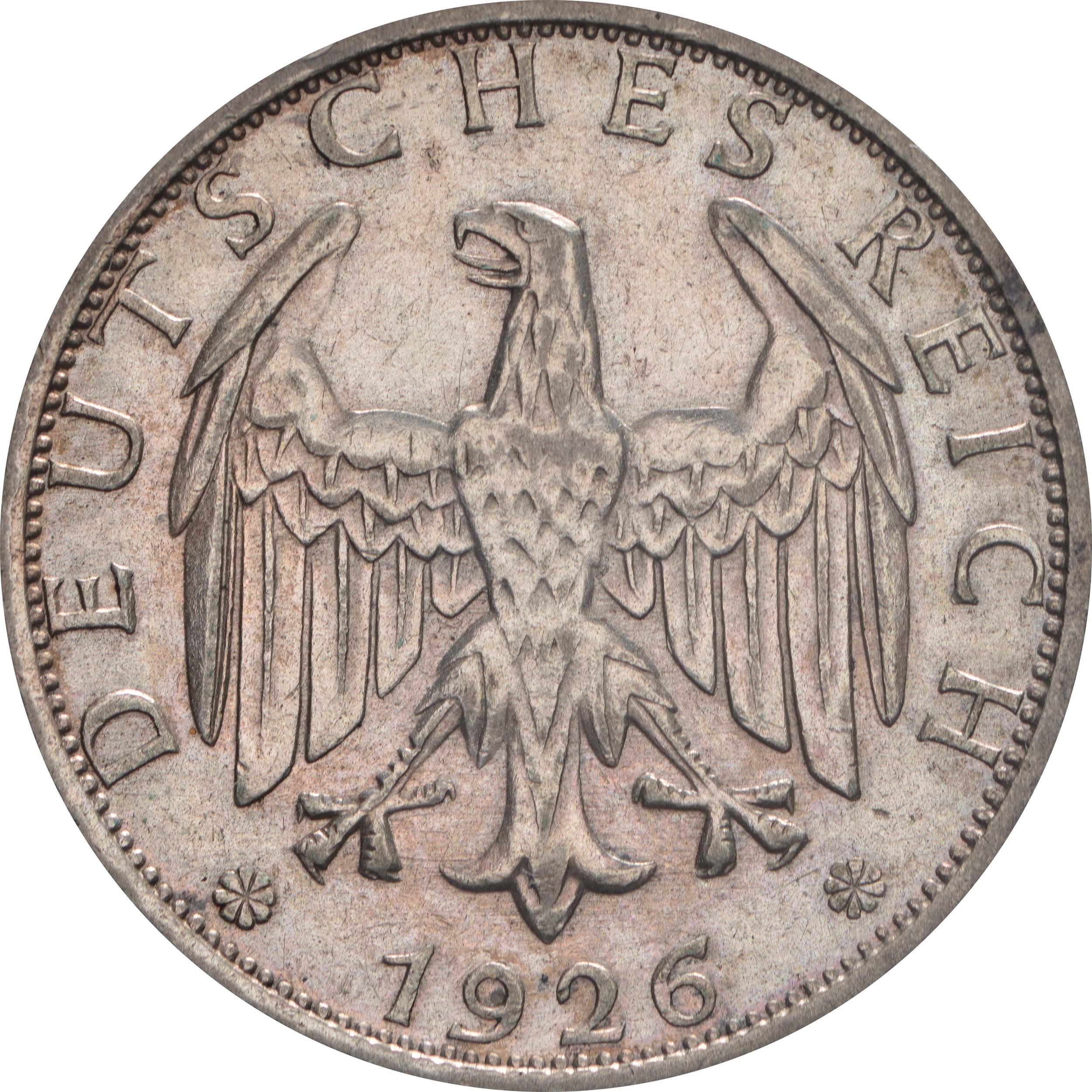 Rückseite:Deutschland : 2 Reichsmark Kursmümnze  1926 ss.