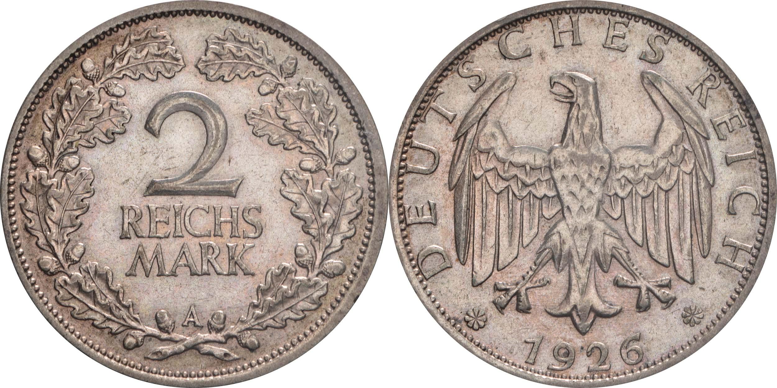 Lieferumfang:Deutschland : 2 Reichsmark Kursmümnze  1926 ss.
