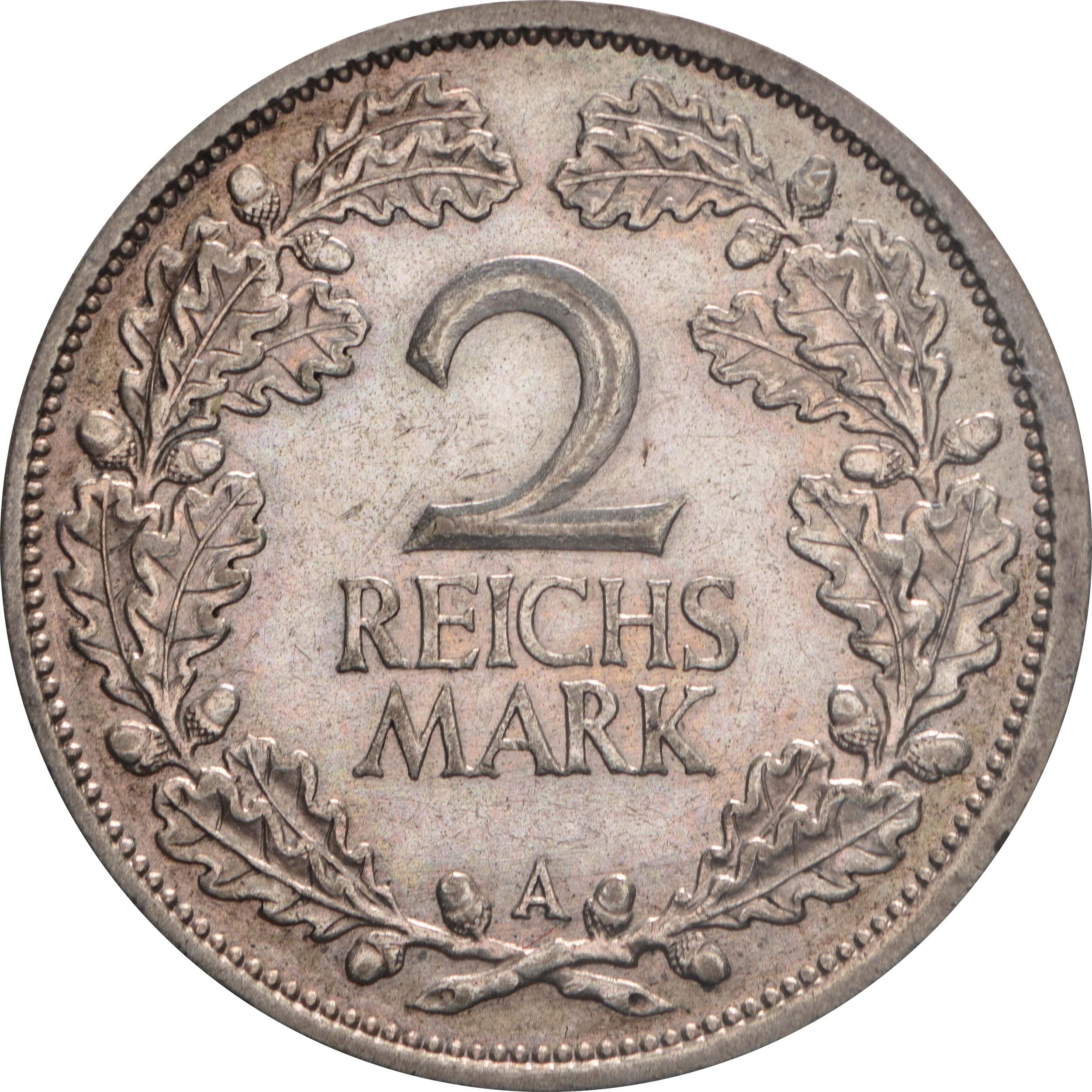 Vorderseite:Deutschland : 2 Reichsmark Kursmümnze  1926 ss.