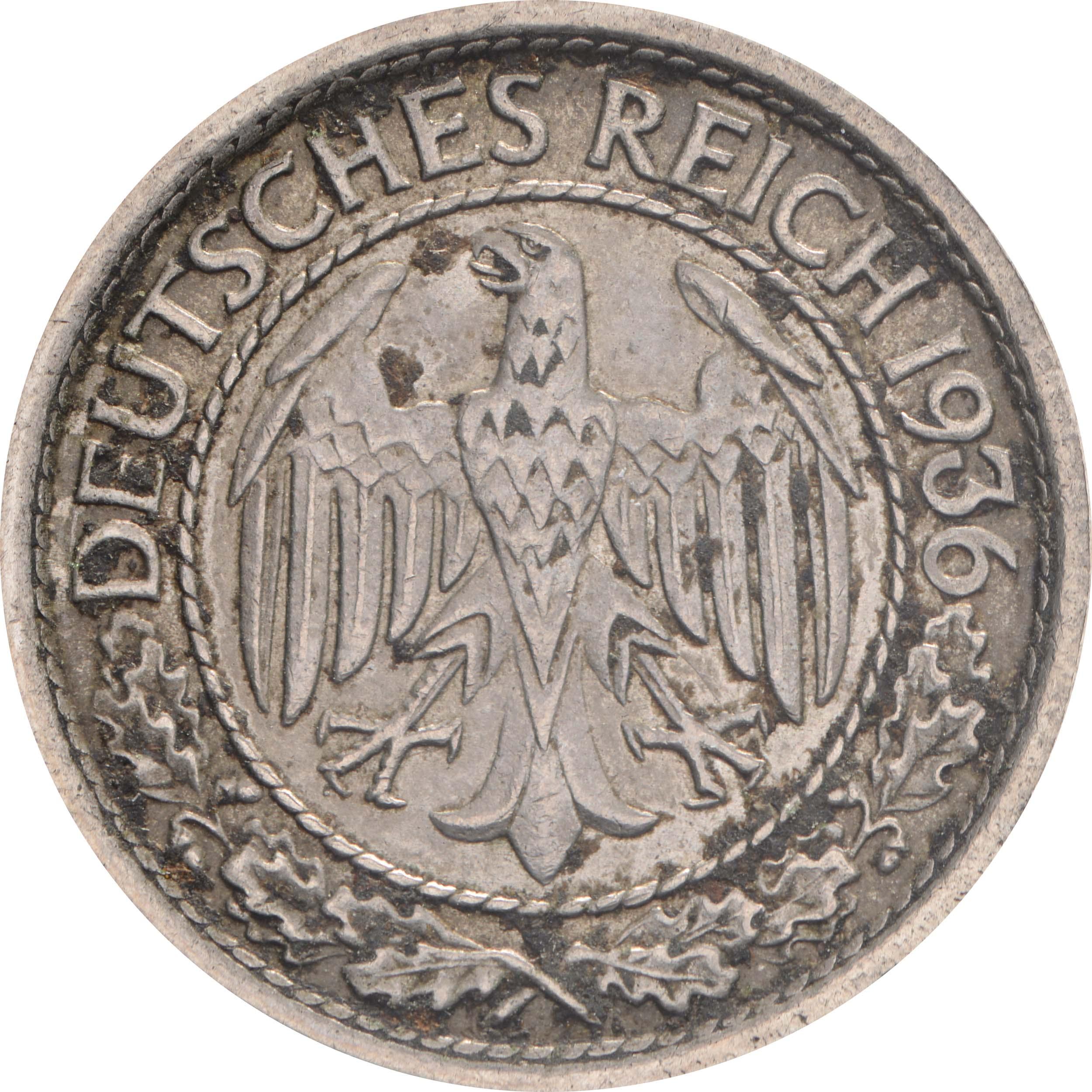 Rückseite:Deutschland : 50 Reichpfennig Kursmünze  1936 ss.