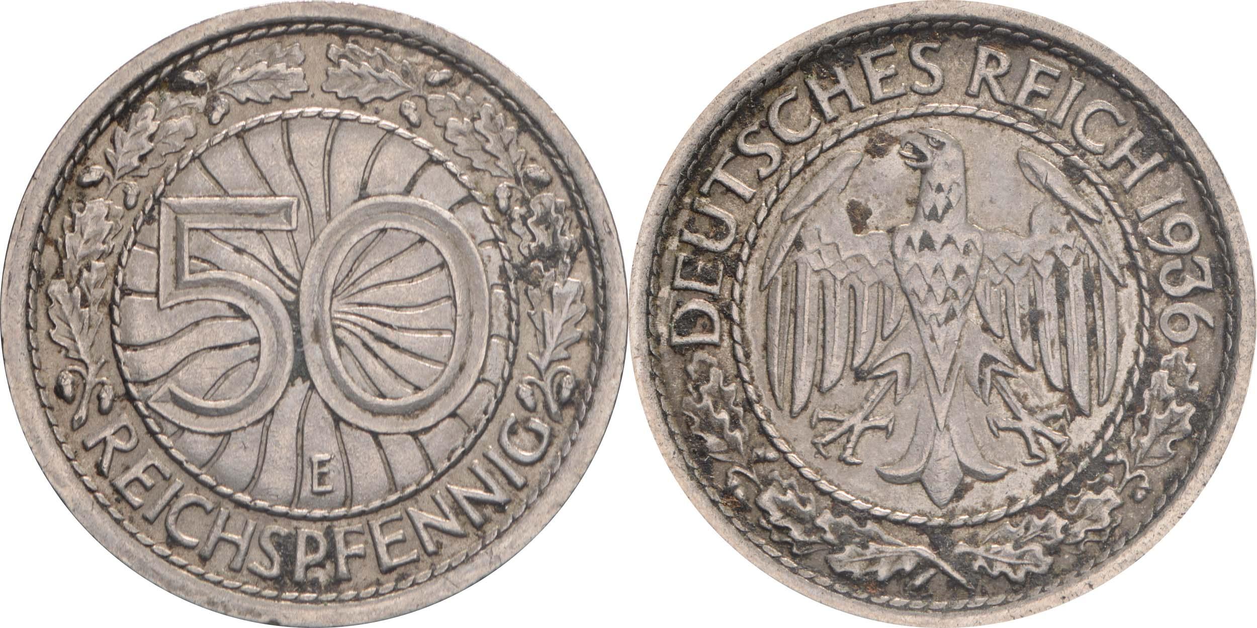 Übersicht:Deutschland : 50 Reichpfennig Kursmünze  1936 ss.