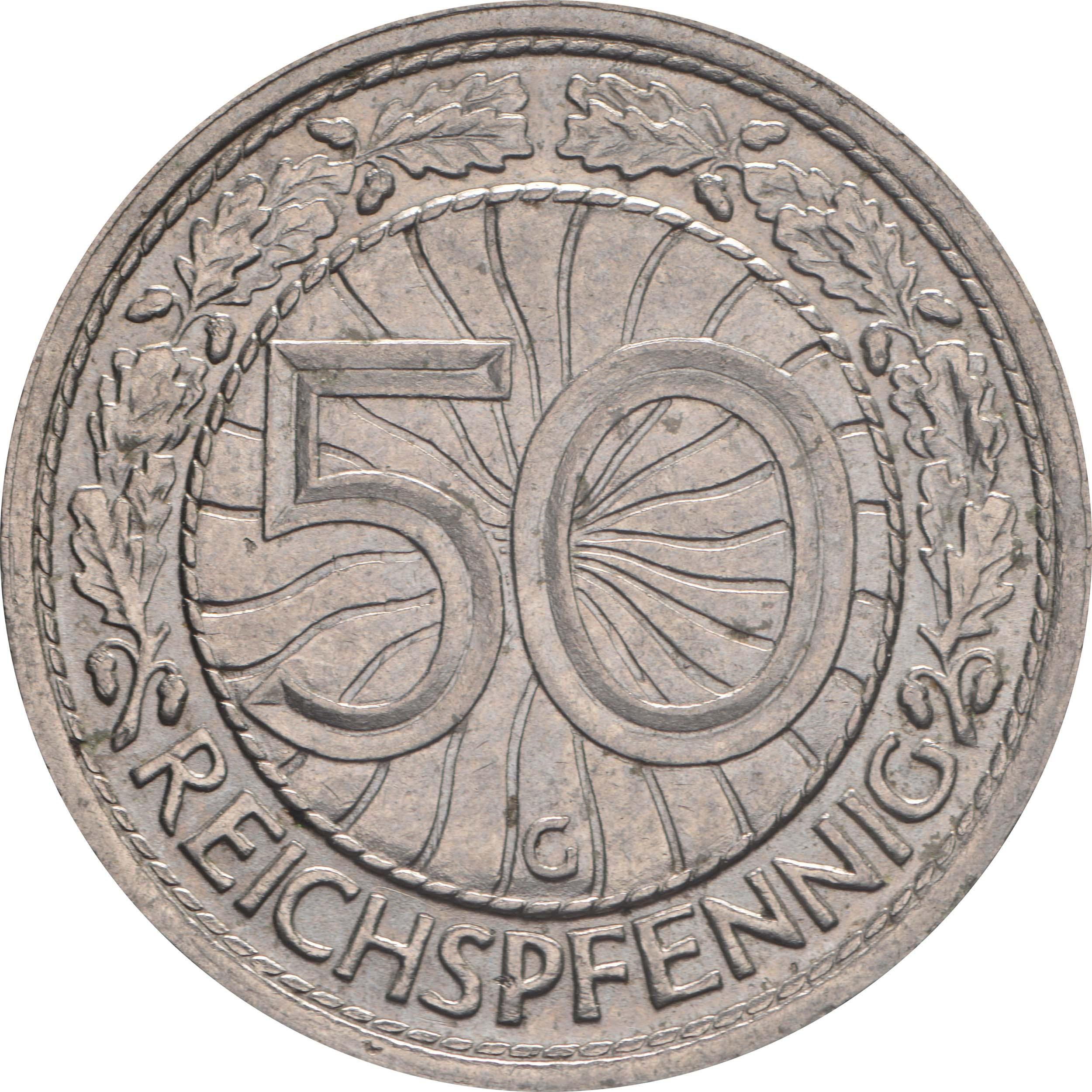 Vorderseite:Deutschland : 50 Reichspfennig Kursmünze  1936 vz.