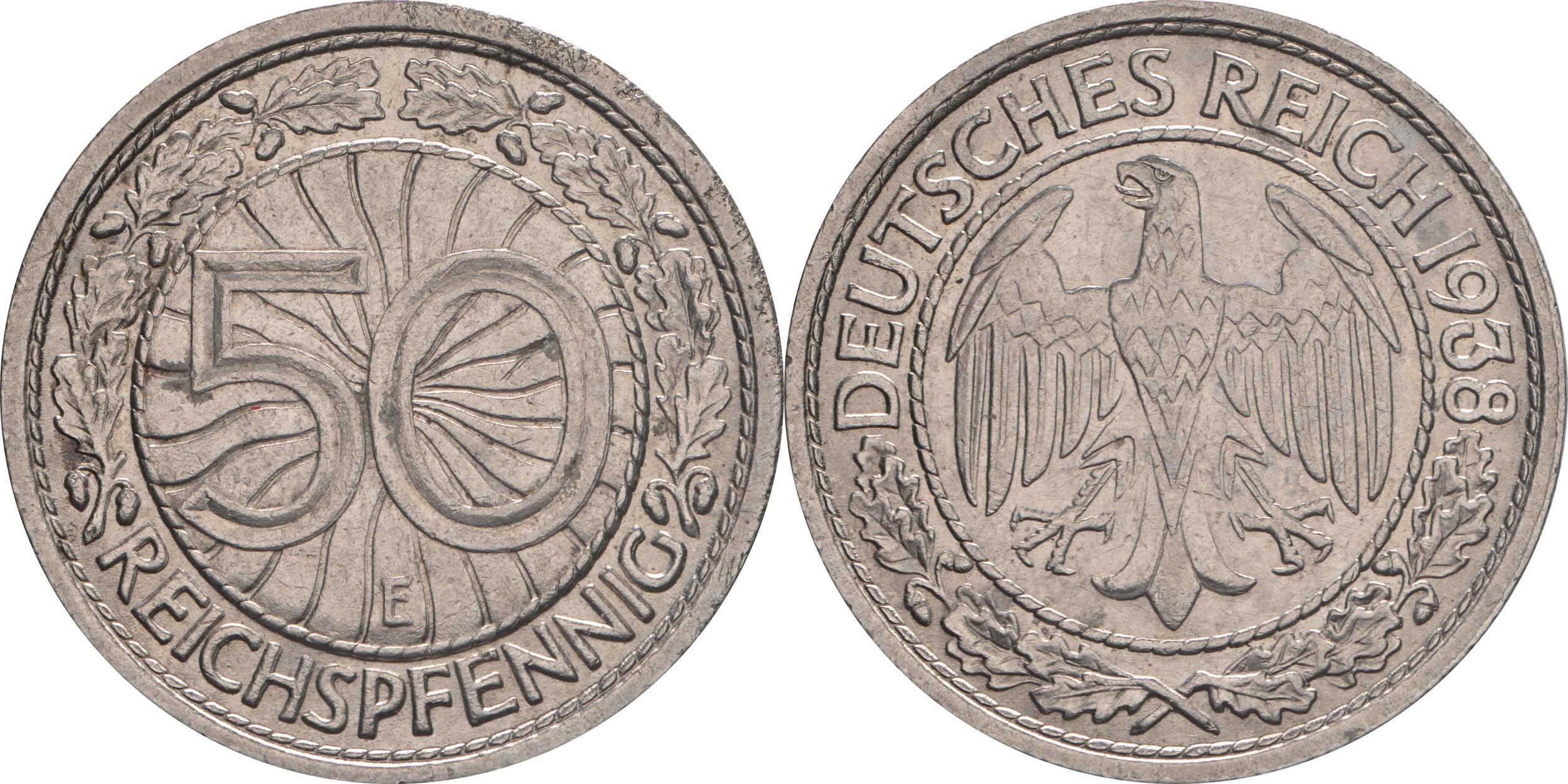 Lieferumfang:Deutschland : 50 Reichspfennig Kursmünze  1938 vz.