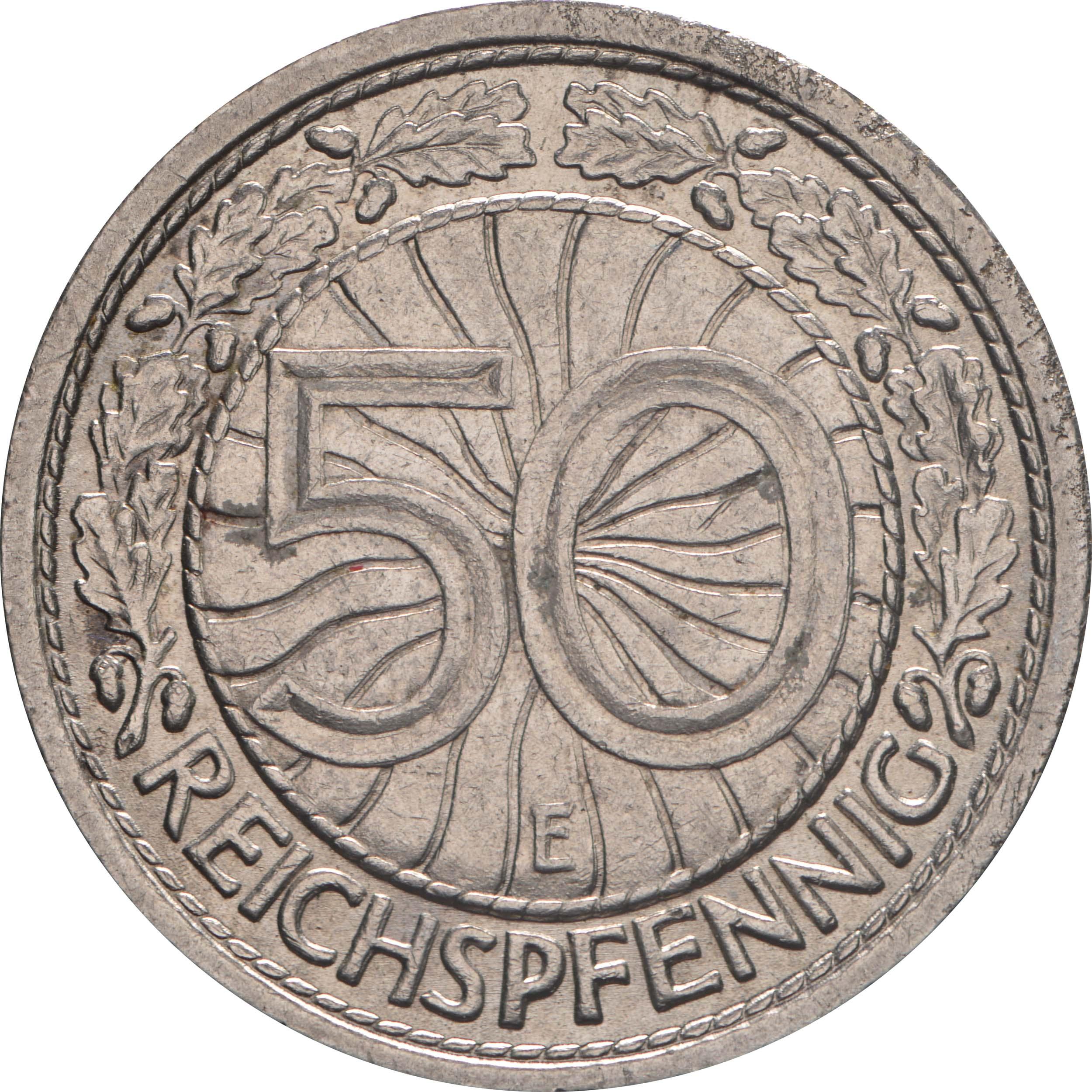 Vorderseite:Deutschland : 50 Reichspfennig Kursmünze  1938 vz.