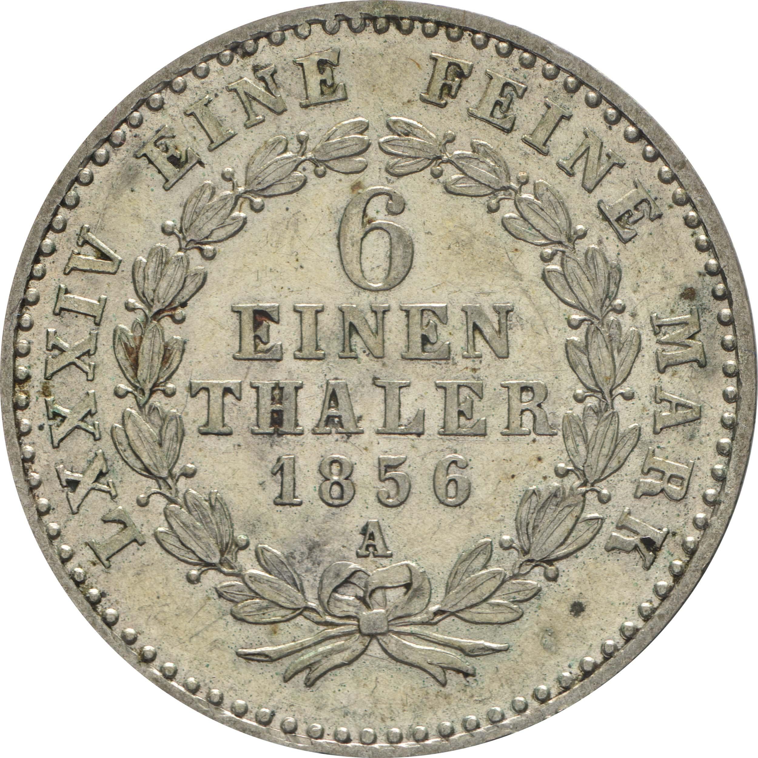 Rückseite:Deutschland : 1/6 Taler   1856 vz/Stgl.