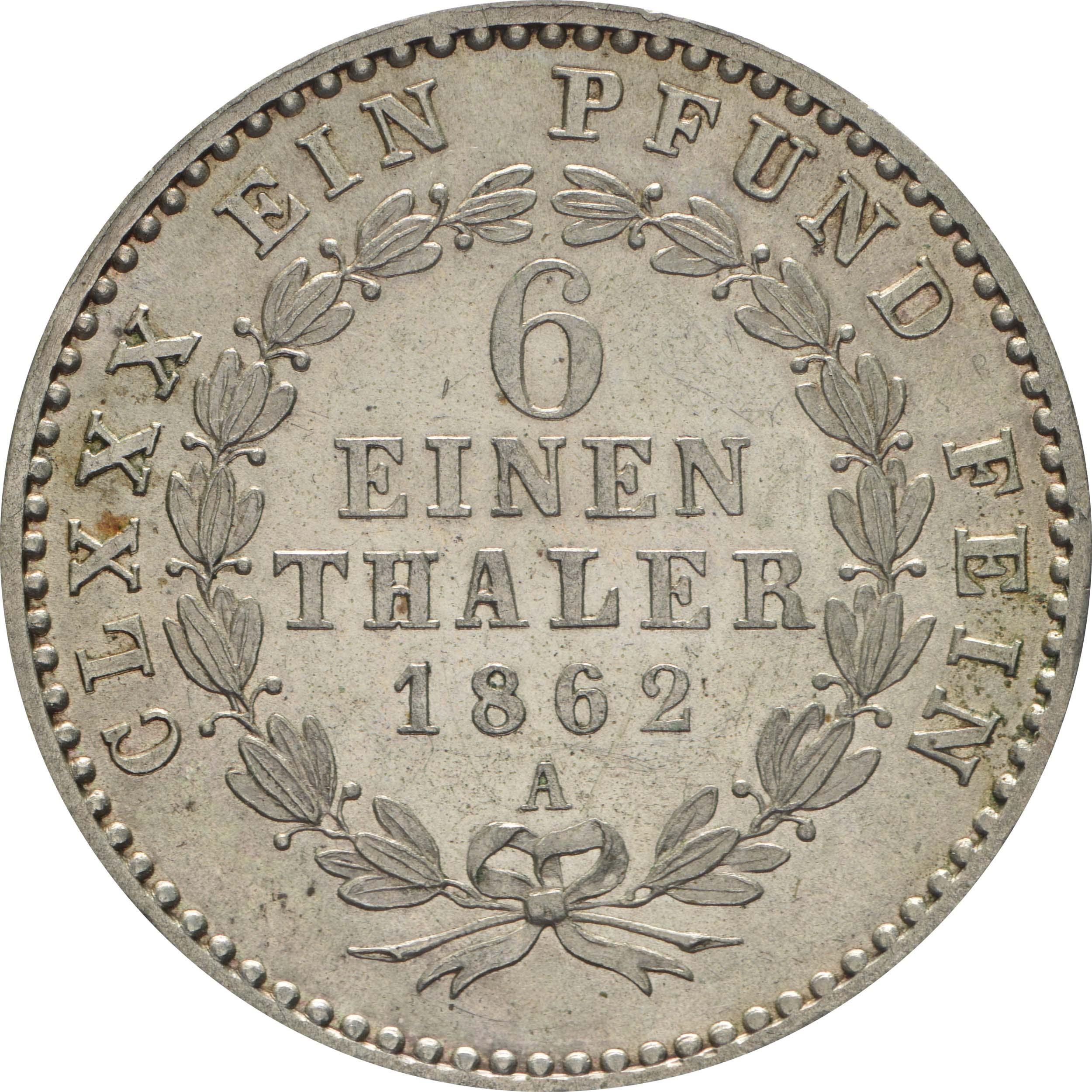 Rückseite:Deutschland : 1/6 Taler  !Erhaltung! 1862 Stgl.