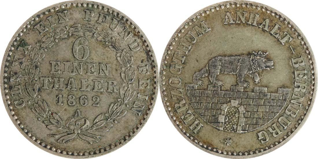 Lieferumfang:Deutschland : 1/6 Taler   1862 ss.