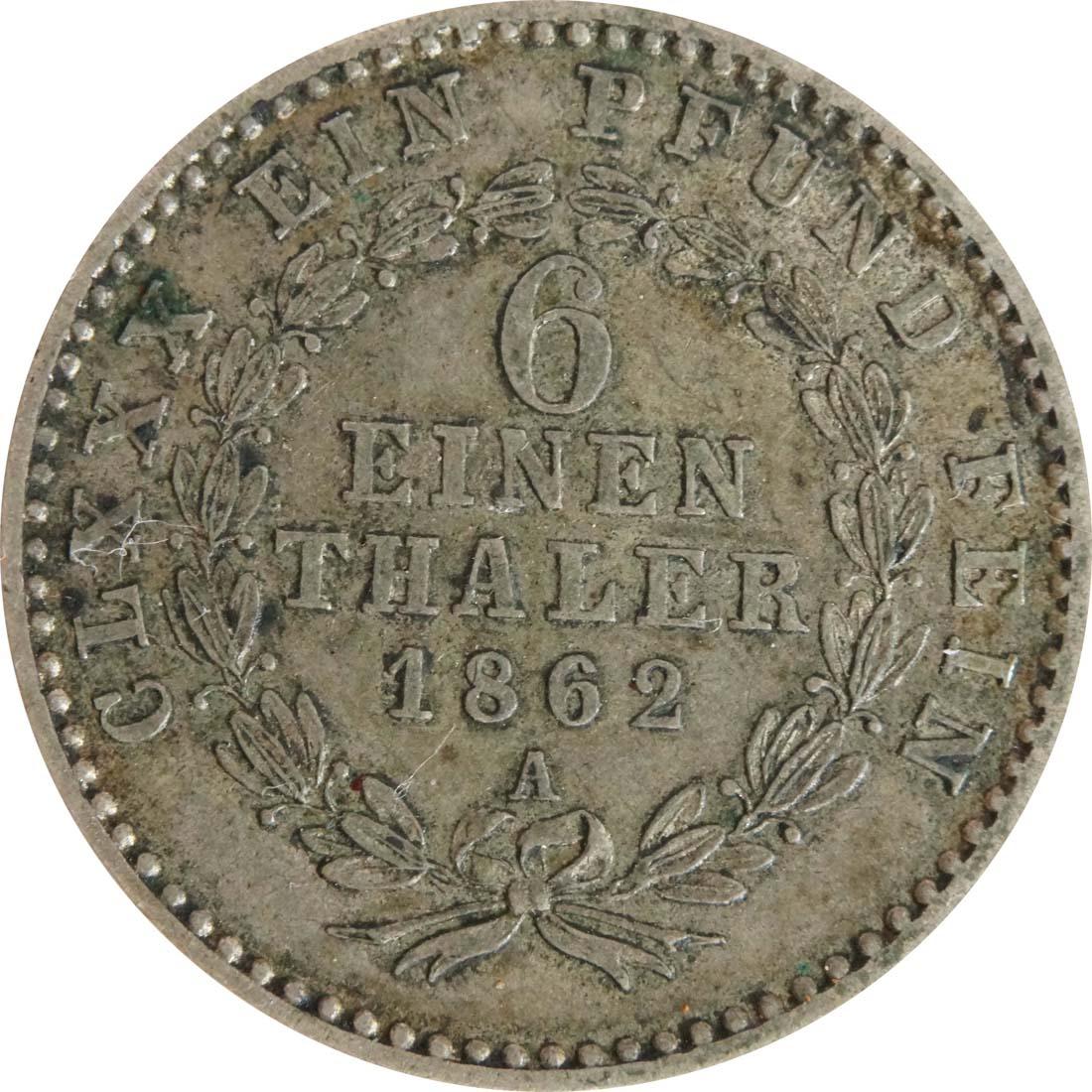 Vorderseite:Deutschland : 1/6 Taler   1862 ss.