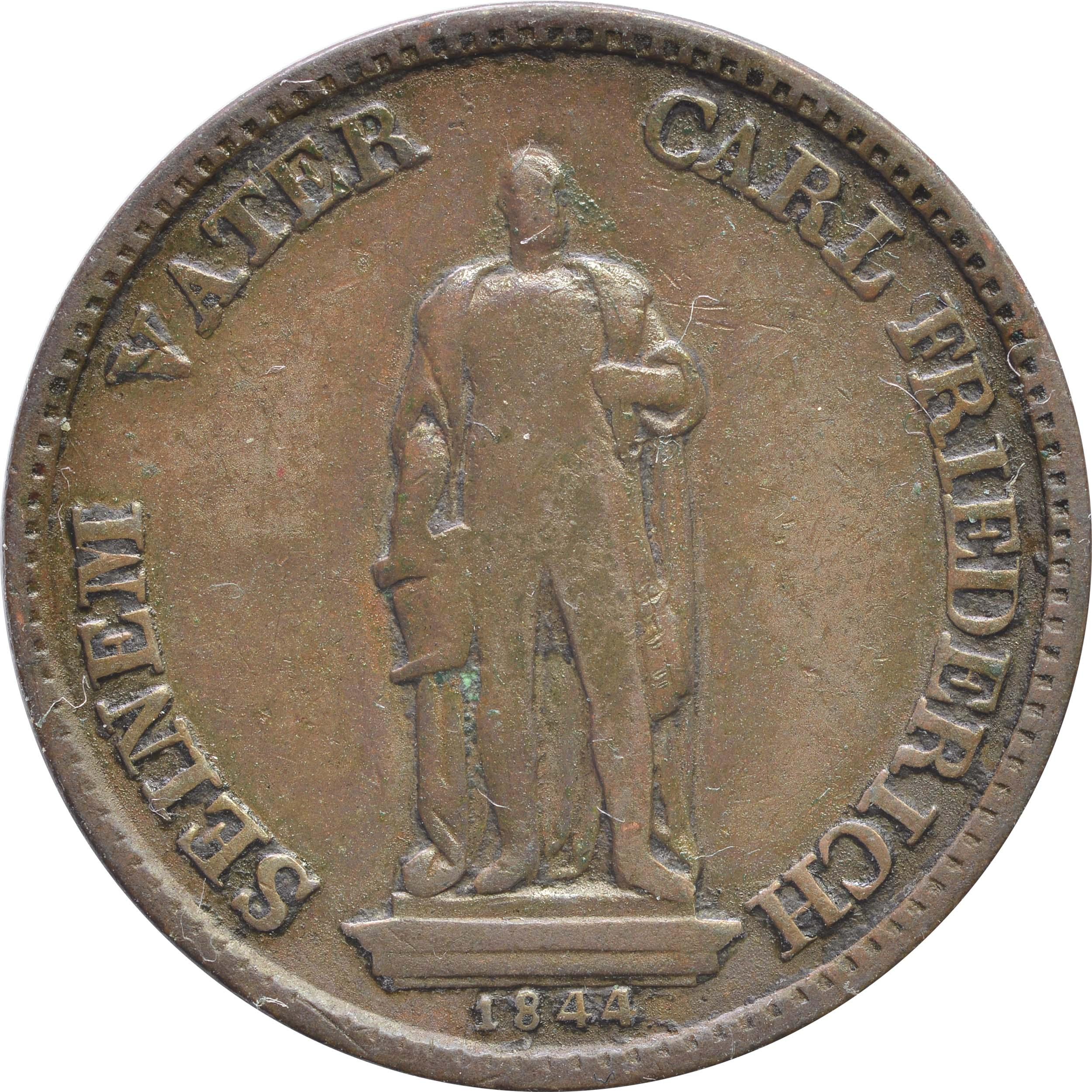 Rückseite :Deutschland :  Gedenkkreuzer Standbild  1844 ss.