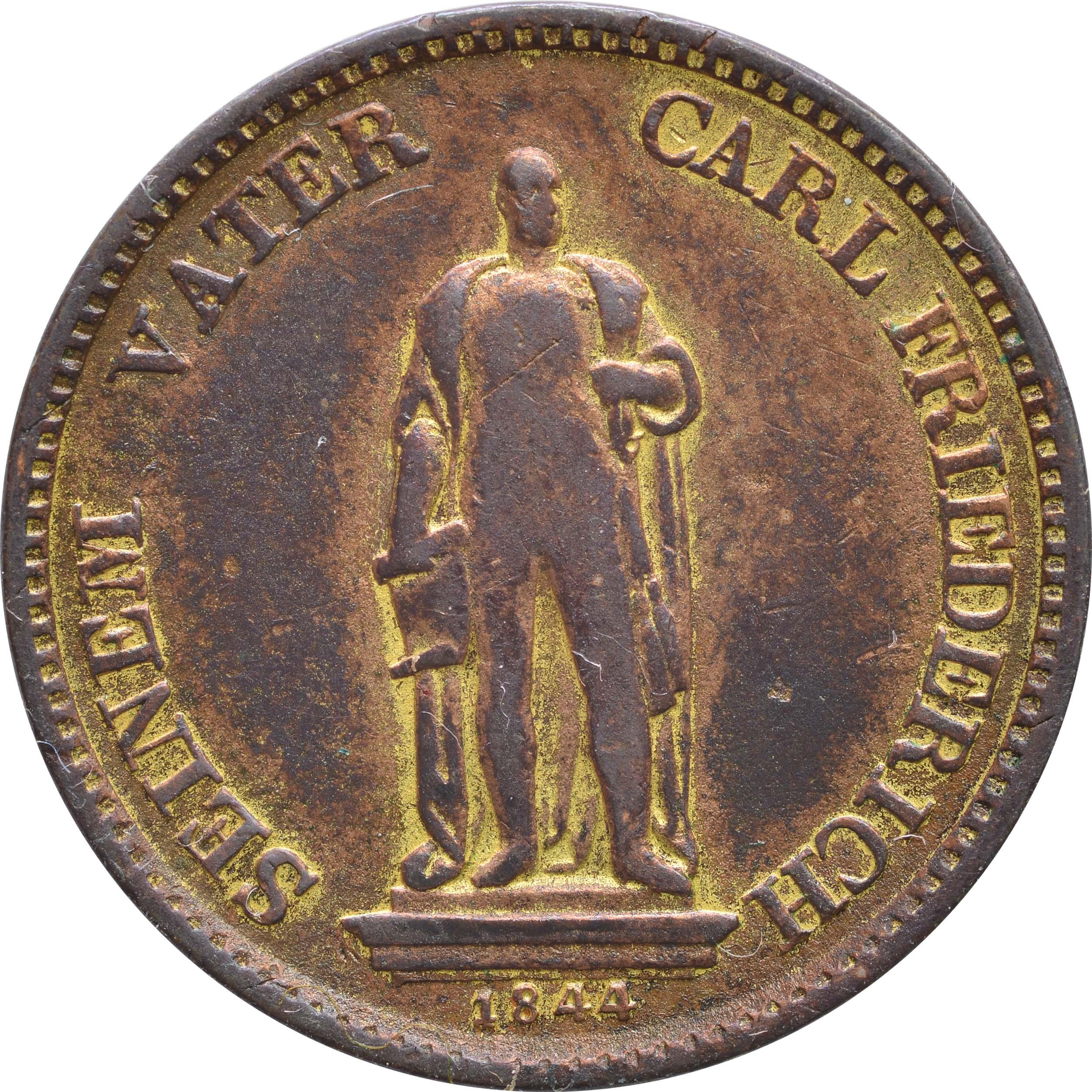 Rückseite:Deutschland :  Gedenkkreuzer   1844 ss.