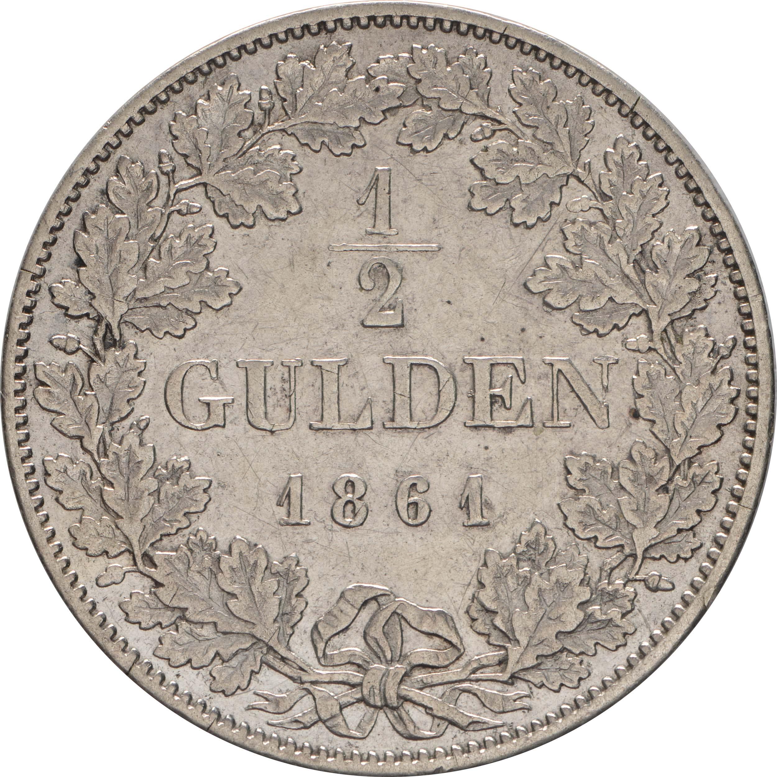 Rückseite:Deutschland : 1/2 Gulden   1861 ss.