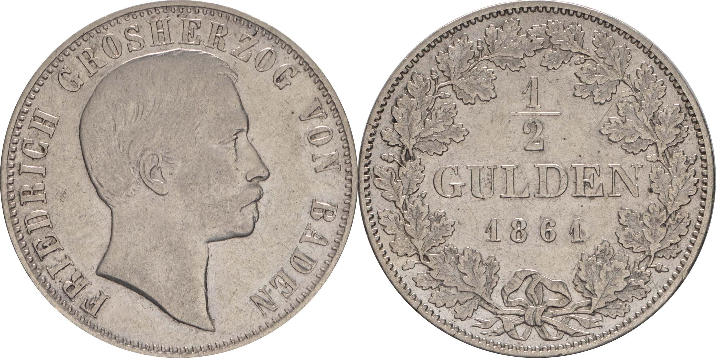 Übersicht:Deutschland : 1/2 Gulden   1861 ss.