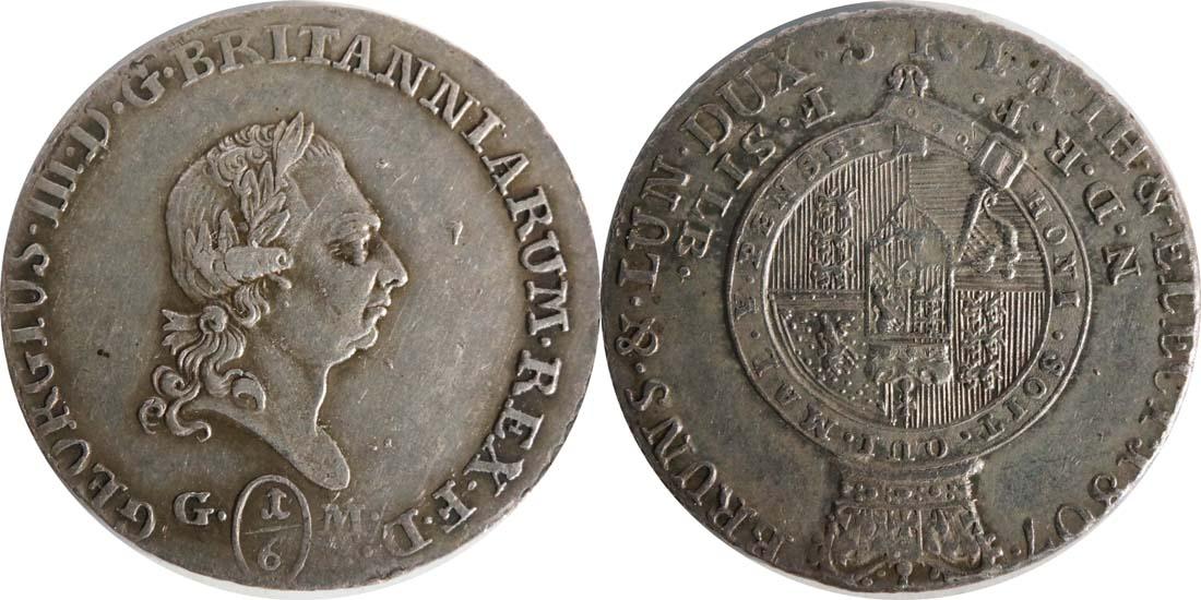 Deutschland : 1/6 Taler Büste / Wappen  1807 ss.