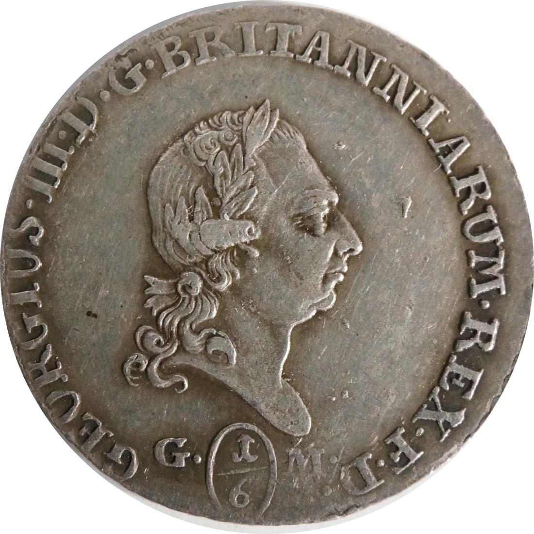 Vorderseite :Deutschland : 1/6 Taler Büste / Wappen  1807 ss.