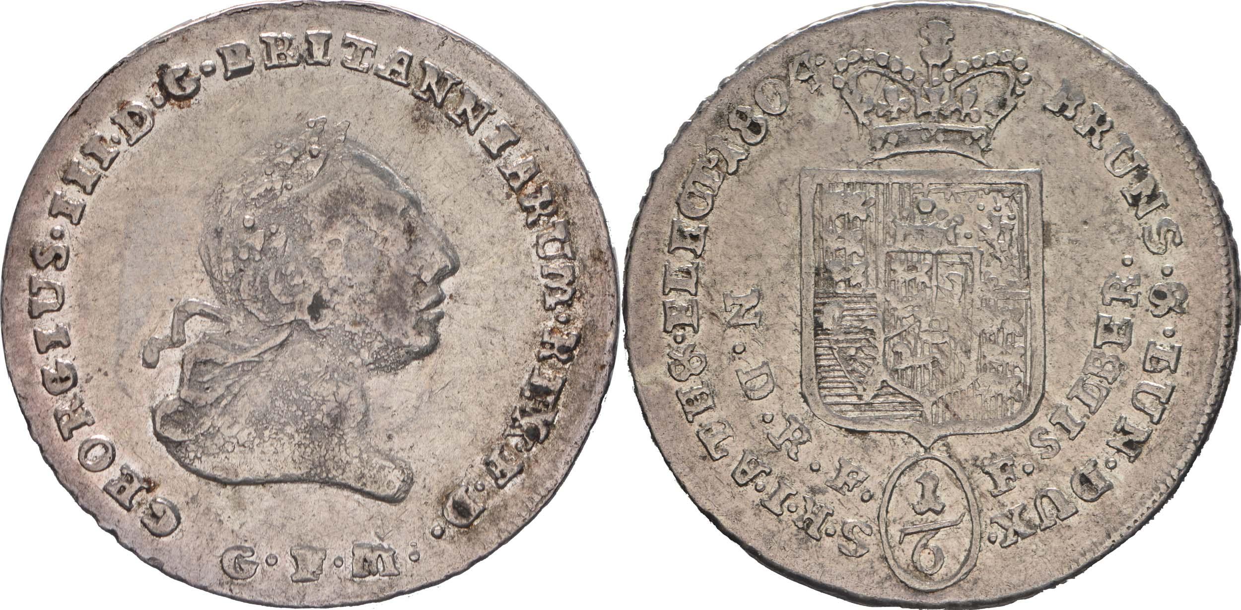 Deutschland : 1/6 Taler Büste / Wappen  1804 ss/vz.