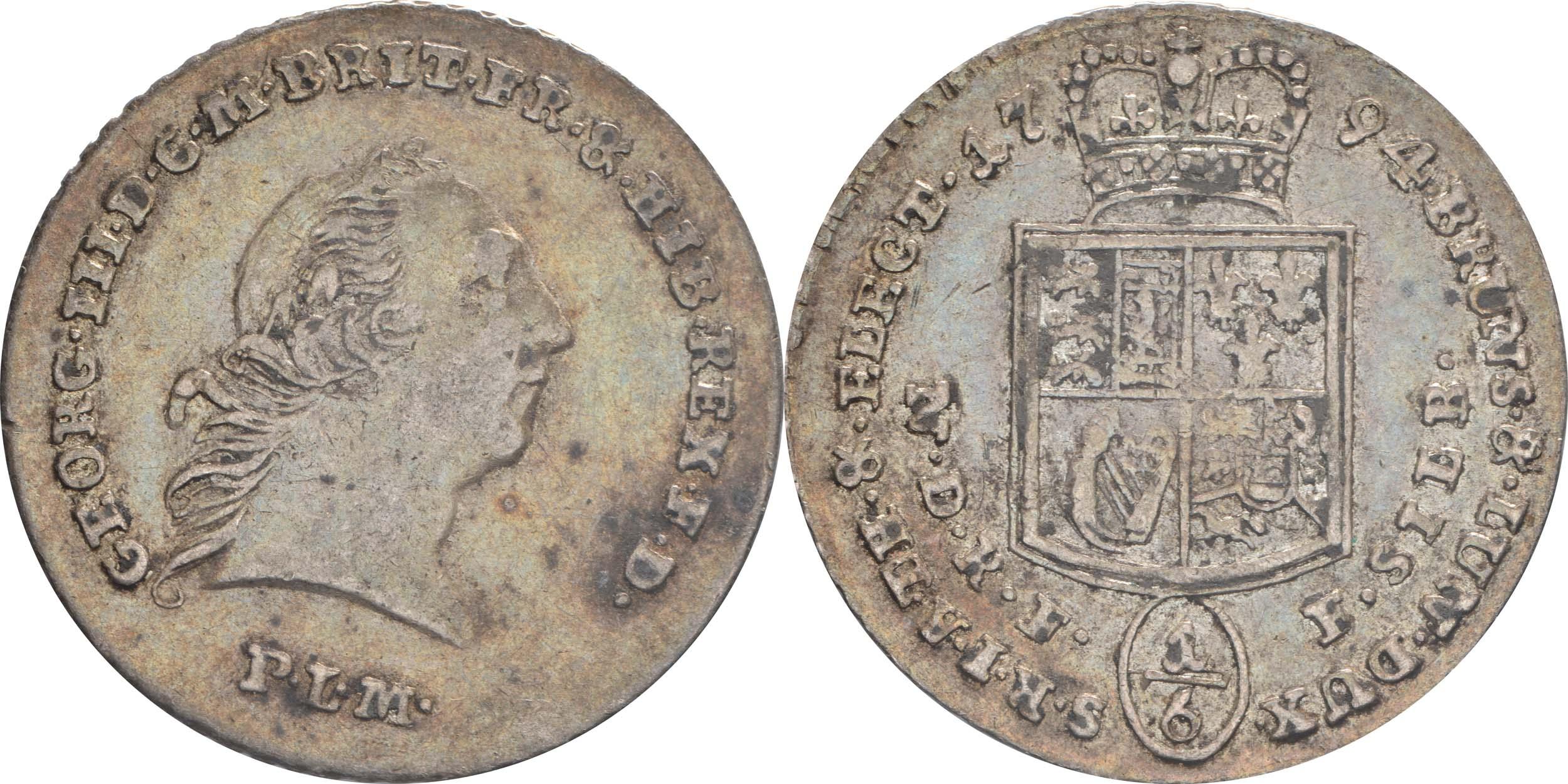 Übersicht:Deutschland : 1/6 Taler Georg III patina 1794 ss/vz.