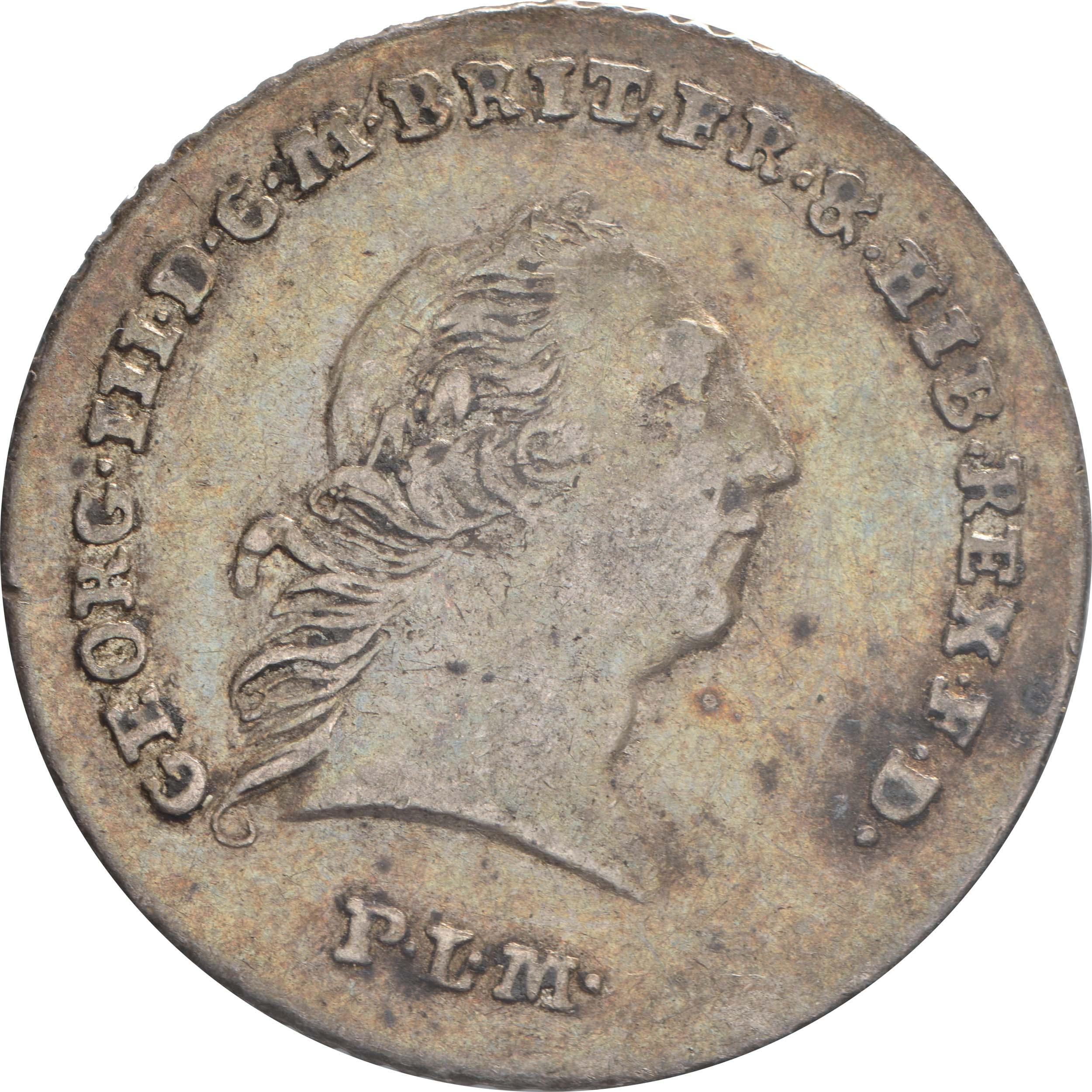 Vorderseite:Deutschland : 1/6 Taler Georg III patina 1794 ss/vz.