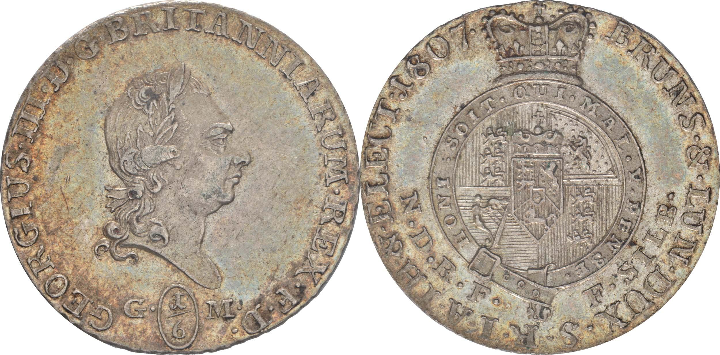 Deutschland : 1/6 Taler Georg III  1807 vz/Stgl.