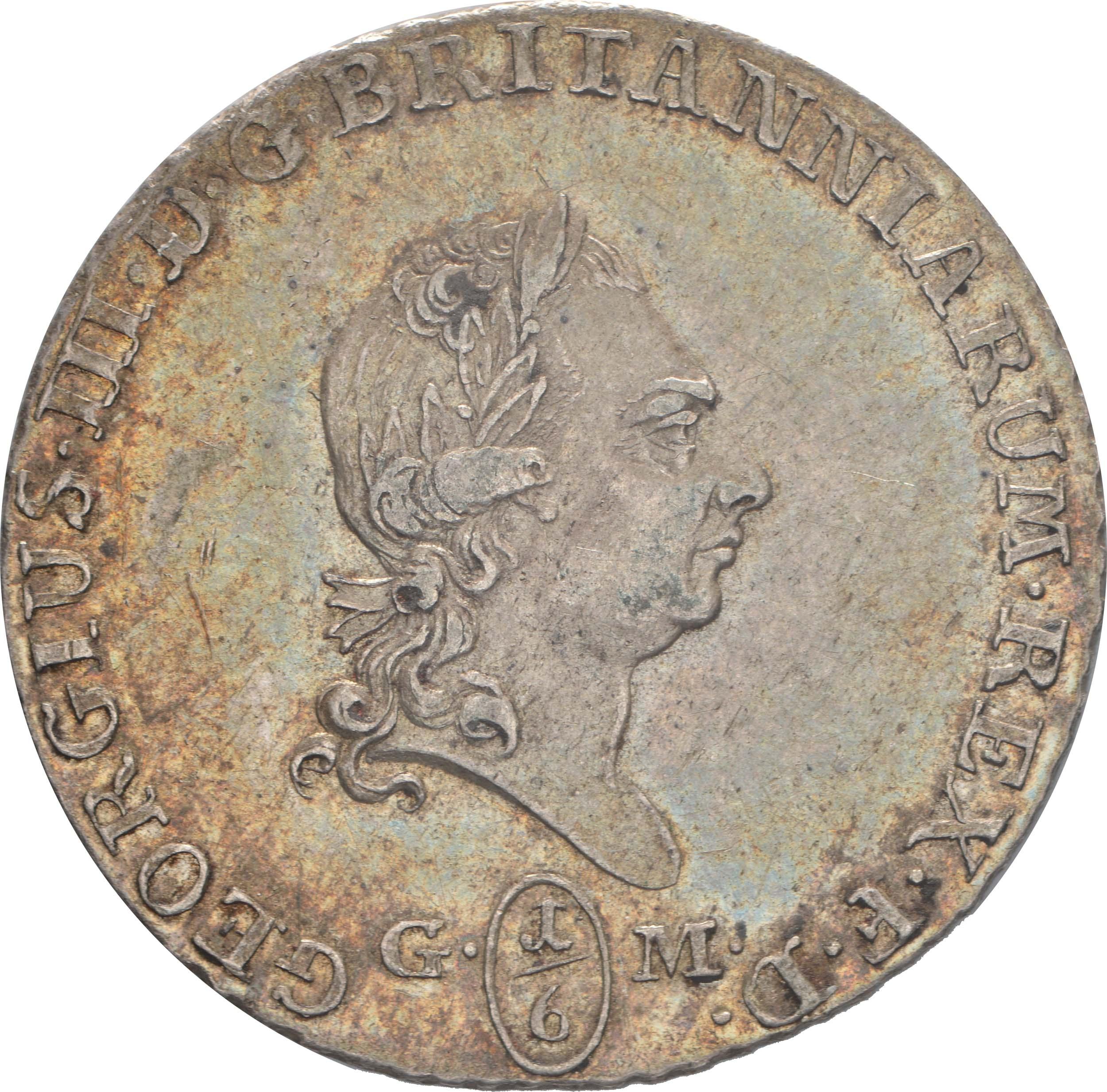 Vorderseite :Deutschland : 1/6 Taler Georg III  1807 vz/Stgl.