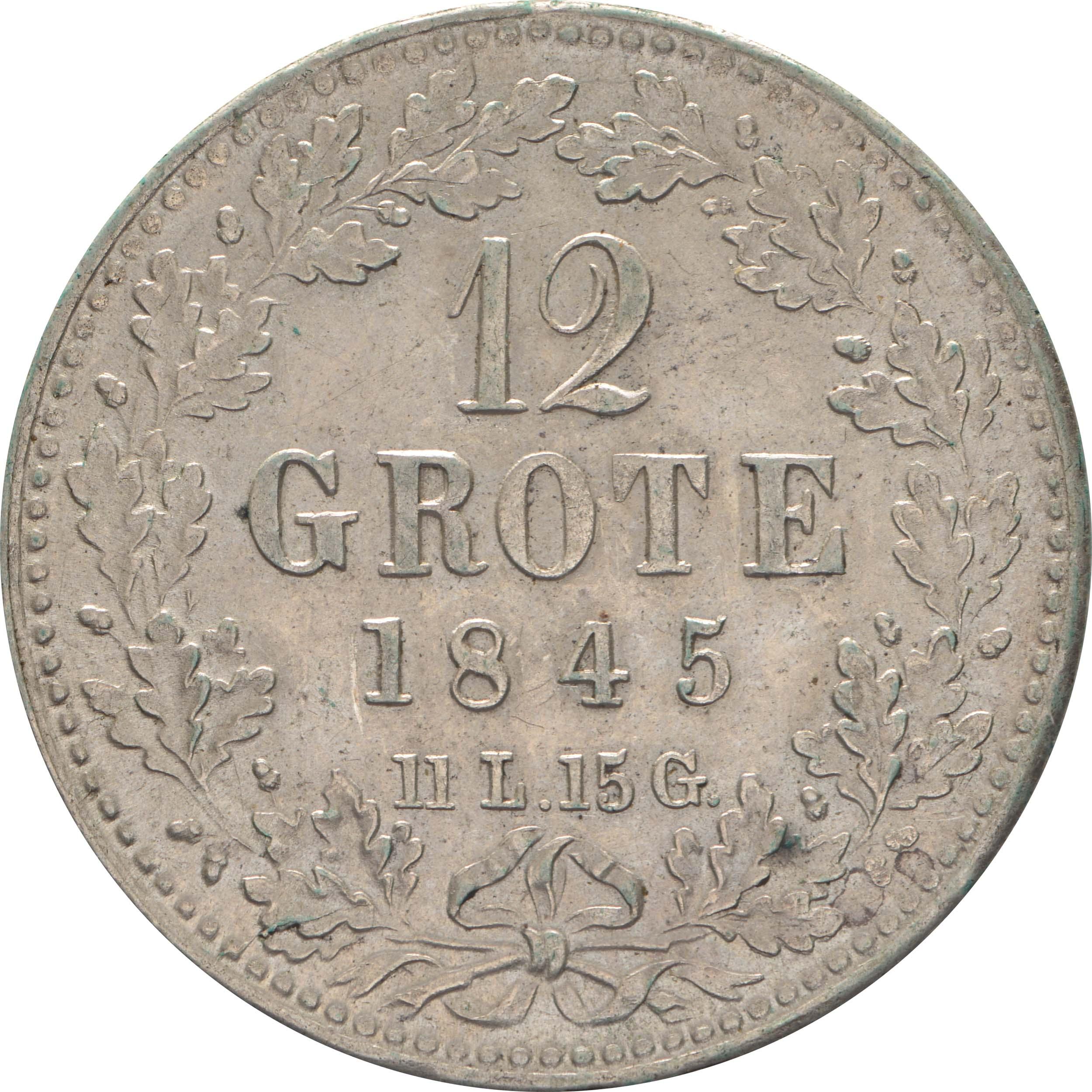 Vorderseite:Deutschland : 12 Grote   1845 vz.