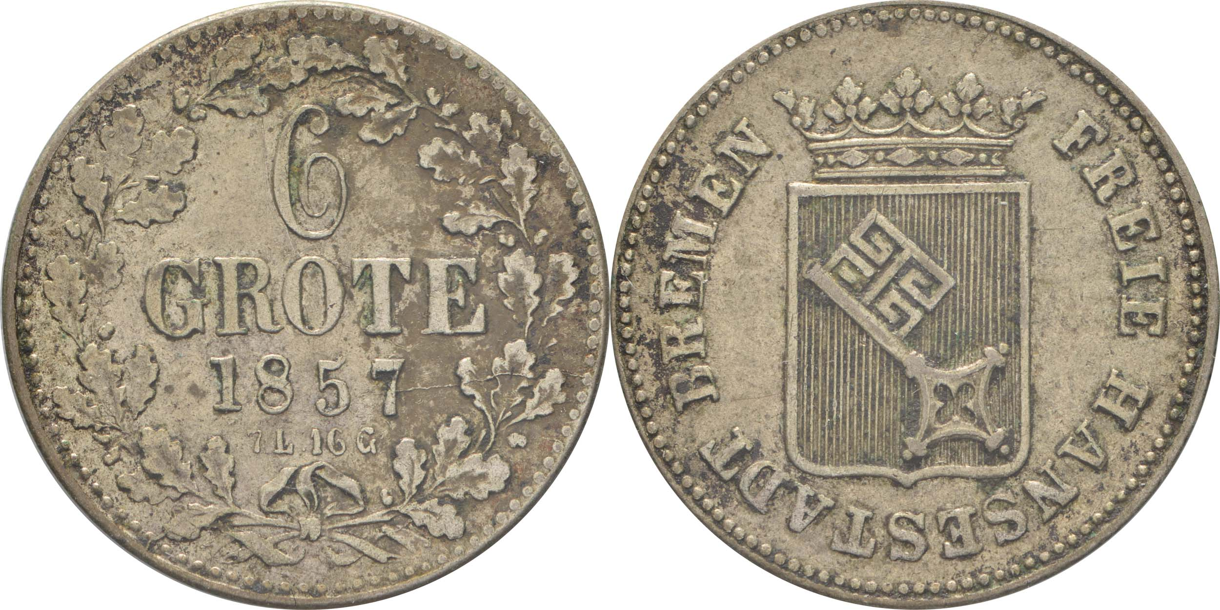 Übersicht:Deutschland : 6 Grote  patina 1857 ss/vz.