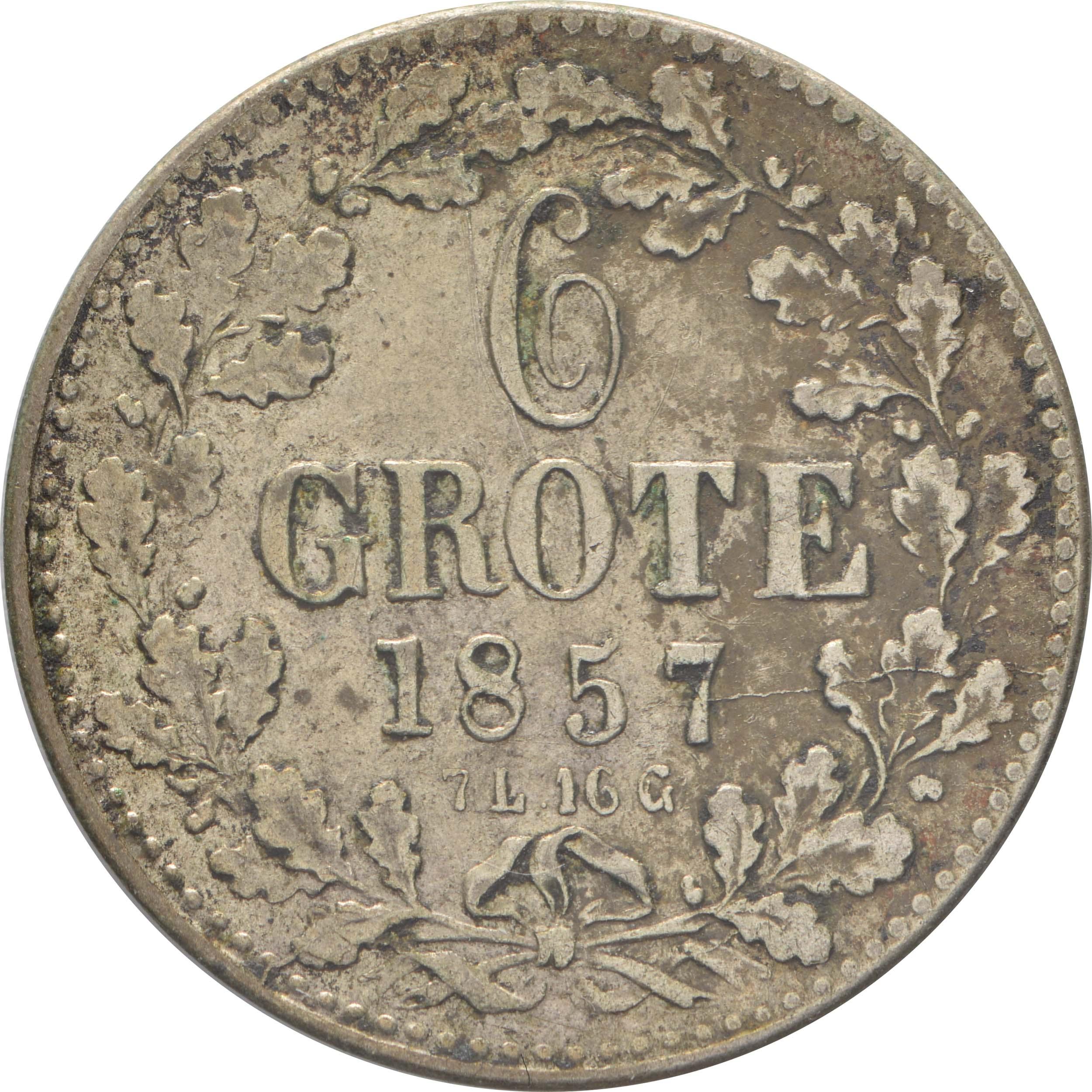 Vorderseite:Deutschland : 6 Grote  patina 1857 ss/vz.
