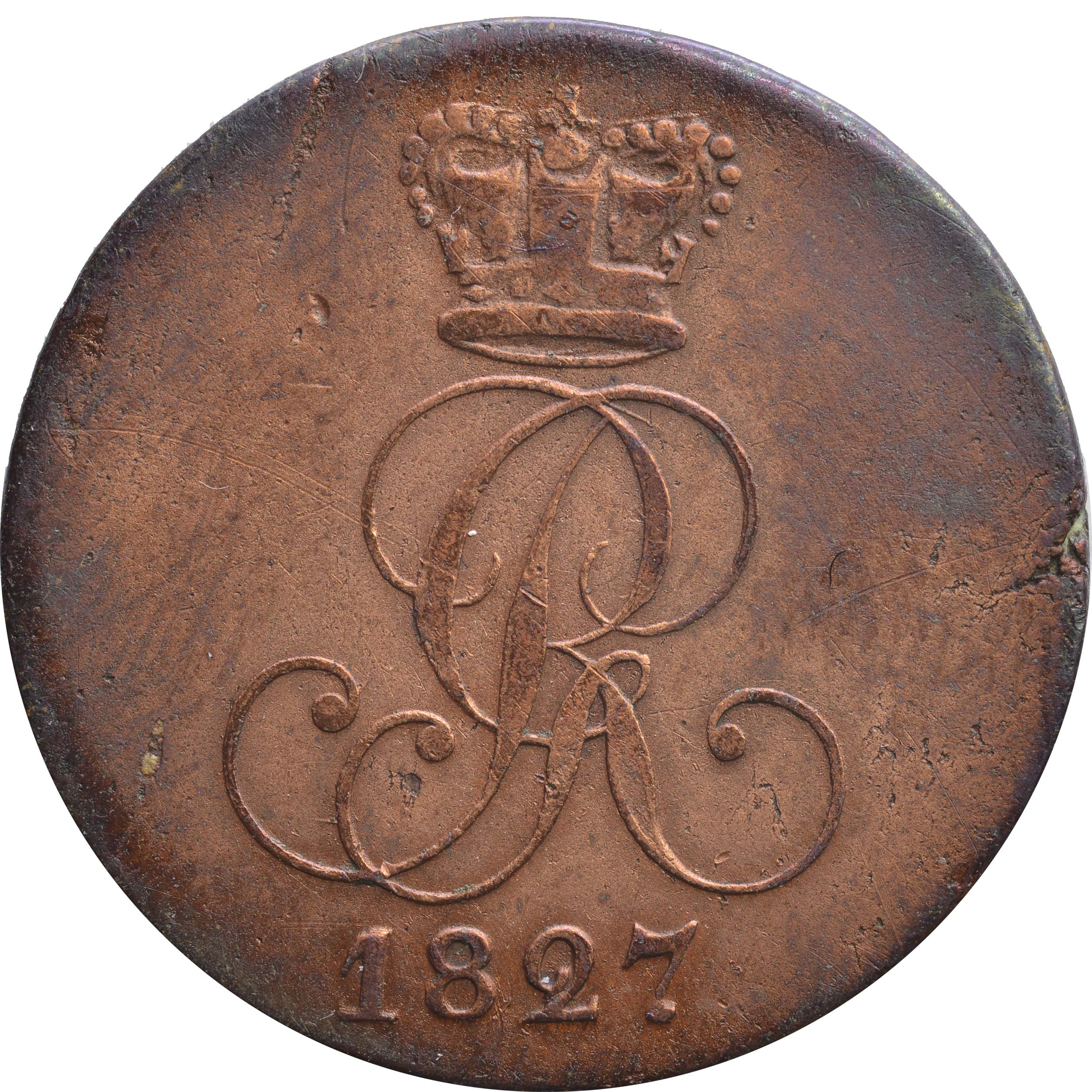 Rückseite:Deutschland : 2 Pfennig   1827 ss.