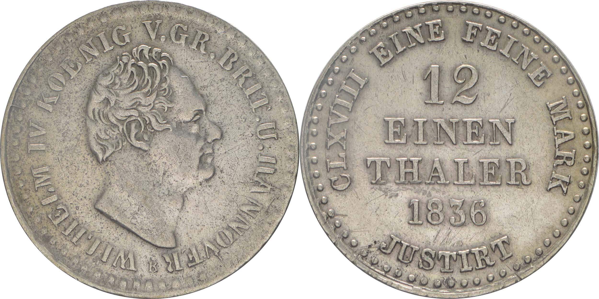 Übersicht:Deutschland : 1/12 Taler   1836 ss/vz.