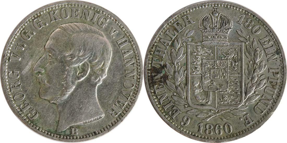 Deutschland : 1/6 Taler   1860 ss/vz.