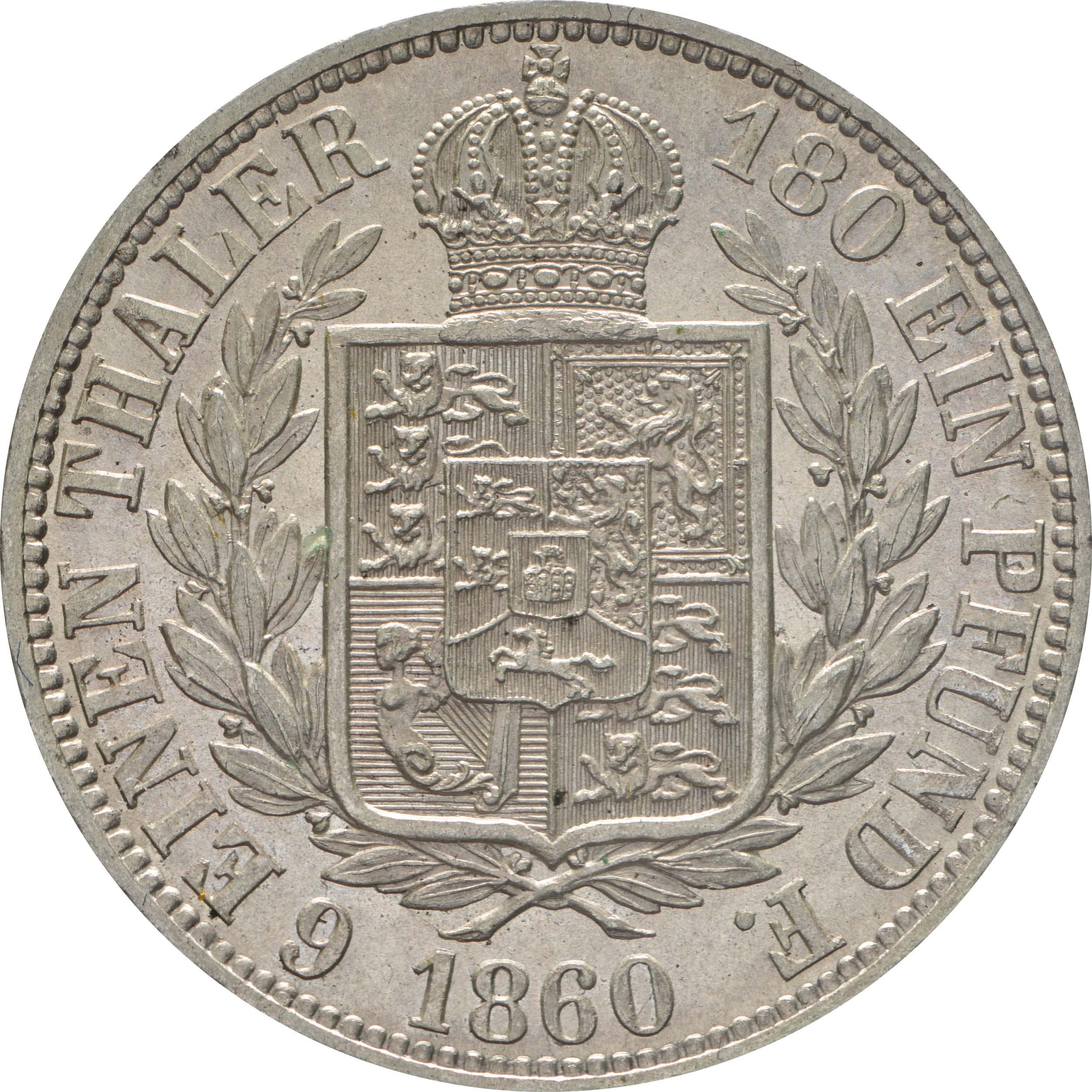 Rückseite:Deutschland : 1/6 Taler   1860 Stgl.