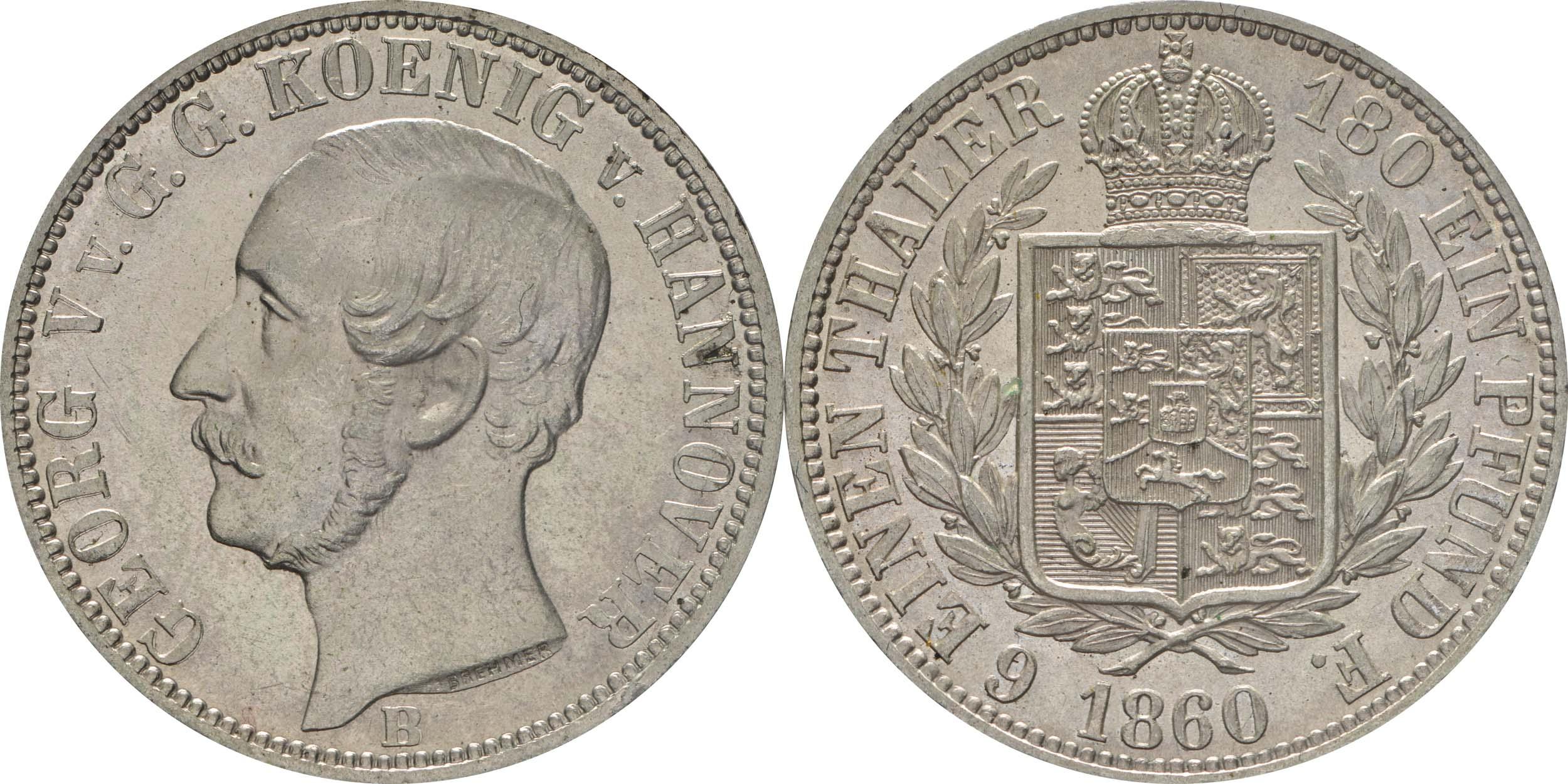 Lieferumfang:Deutschland : 1/6 Taler   1860 Stgl.