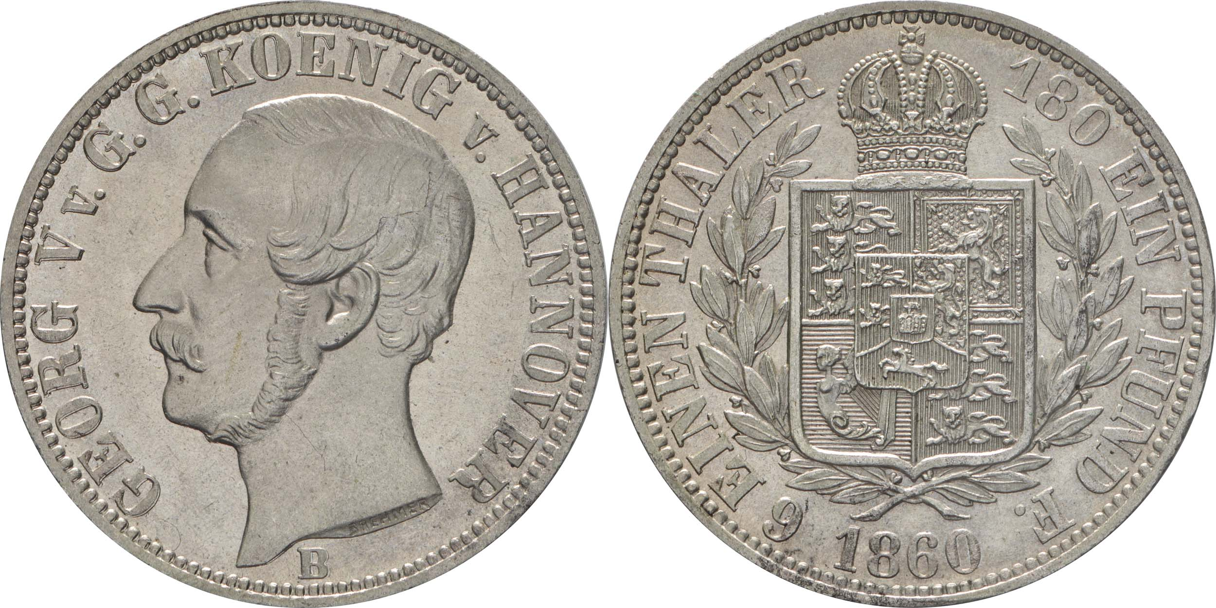 Deutschland : 1/6 Taler   1860 vz/Stgl.