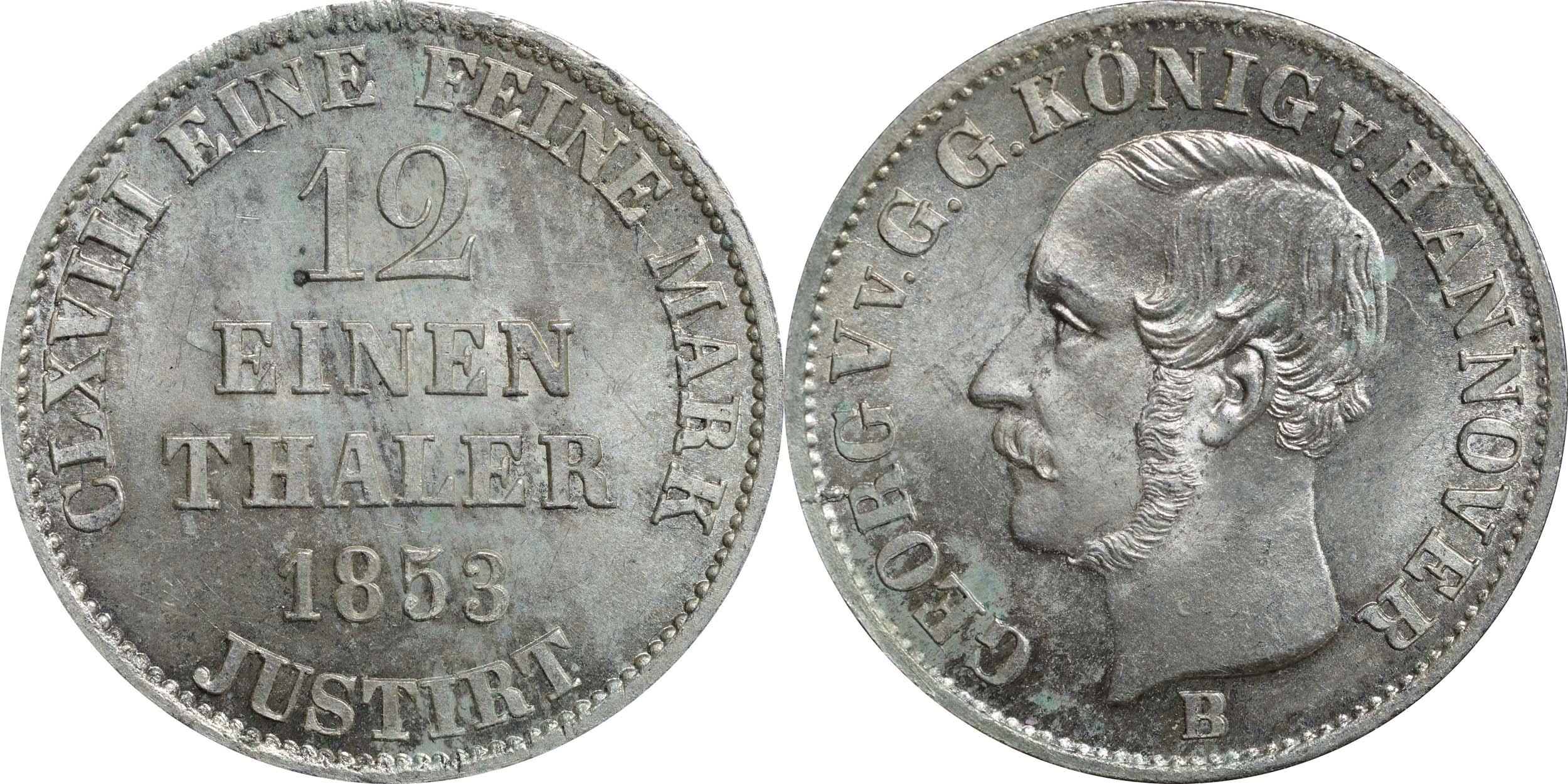 Übersicht:Deutschland : 1/12 Taler  -seltene Erhaltung- 1853 Stgl.