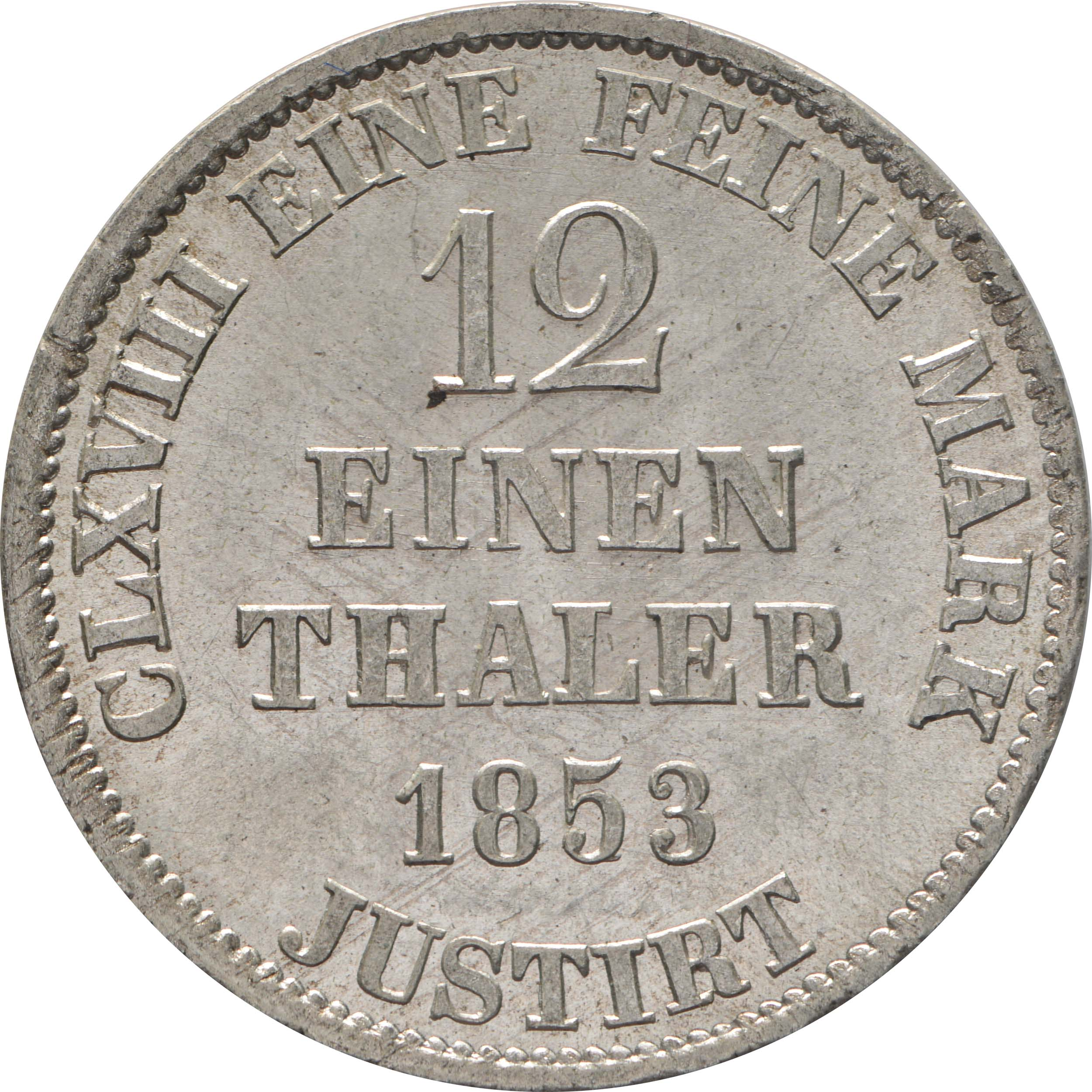 Rückseite:Deutschland : 1/12 Taler  patina 1853 Stgl.