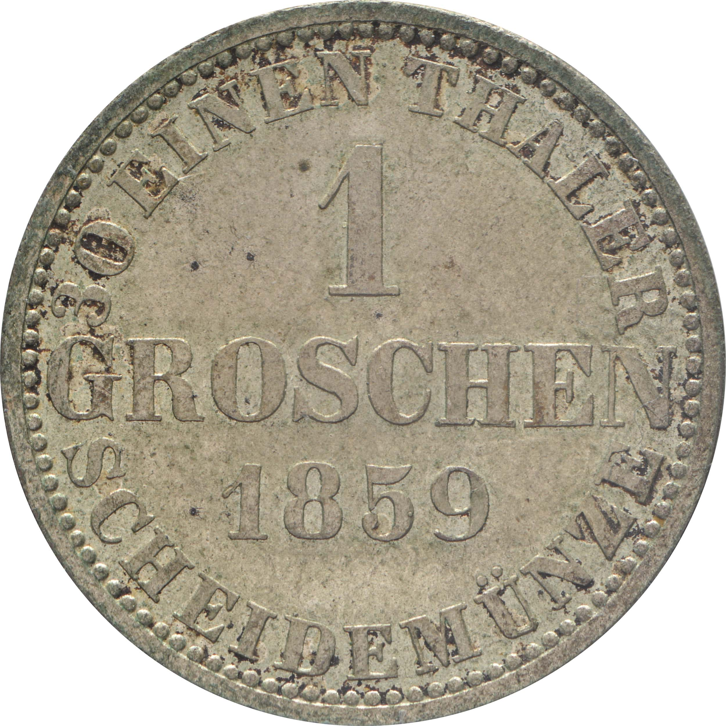 Rückseite :Deutschland : 1 Groschen   1859 vz/Stgl.