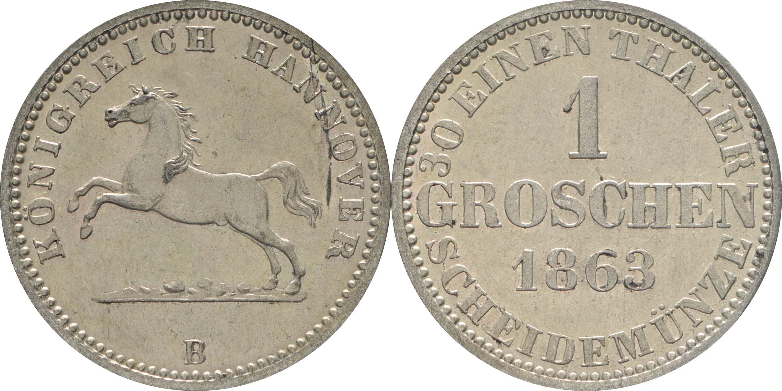 Deutschland : 1 Groschen   1863 vz/Stgl.