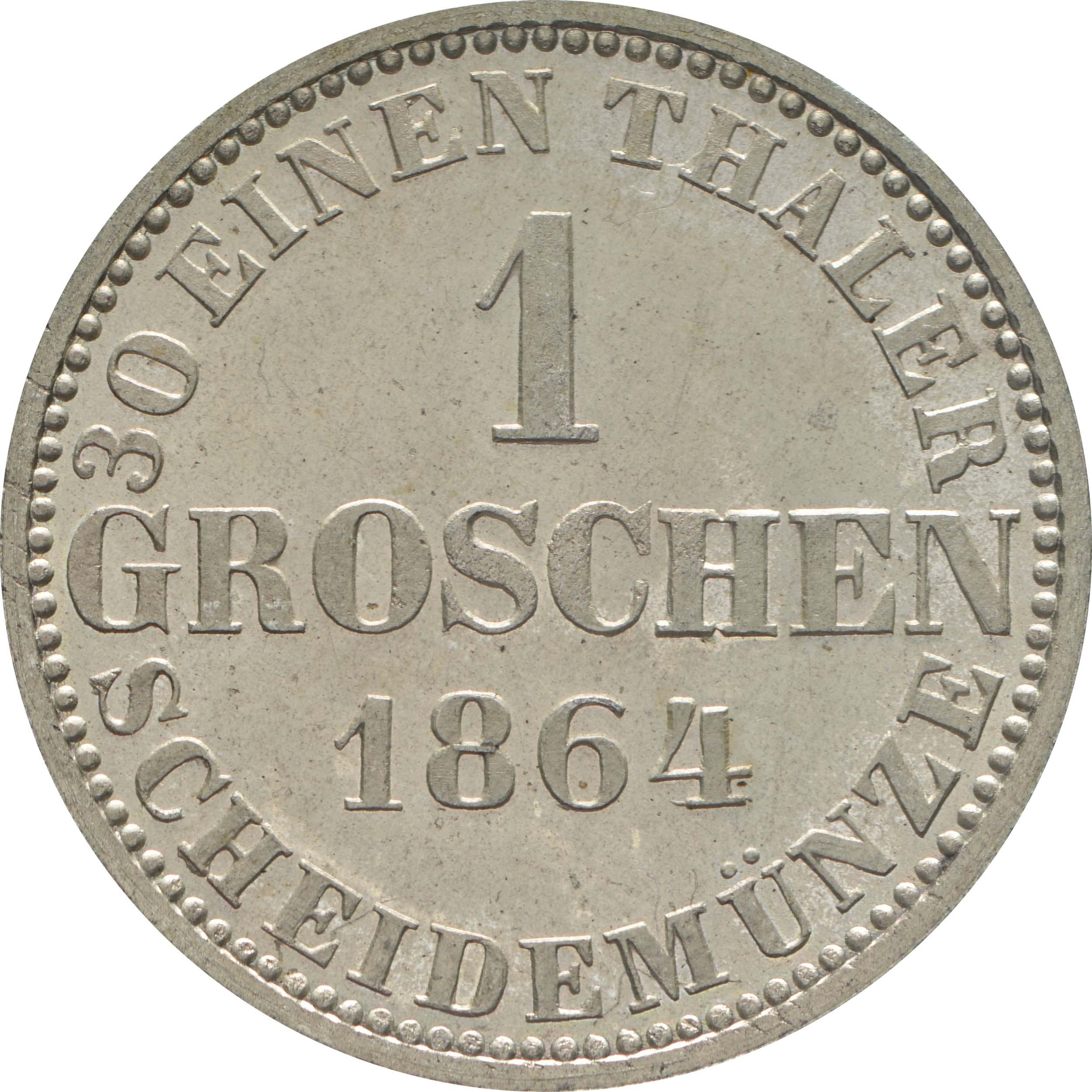 Rückseite:Deutschland : 1 Groschen  -fein-, !Erhaltung! 1864 Stgl.