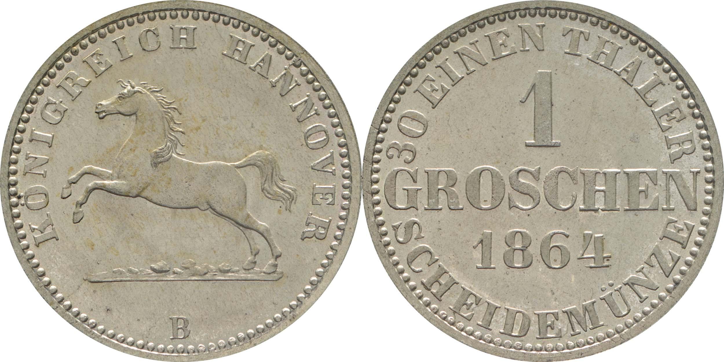 Deutschland : 1 Groschen  -fein-, !Erhaltung! 1864 Stgl.