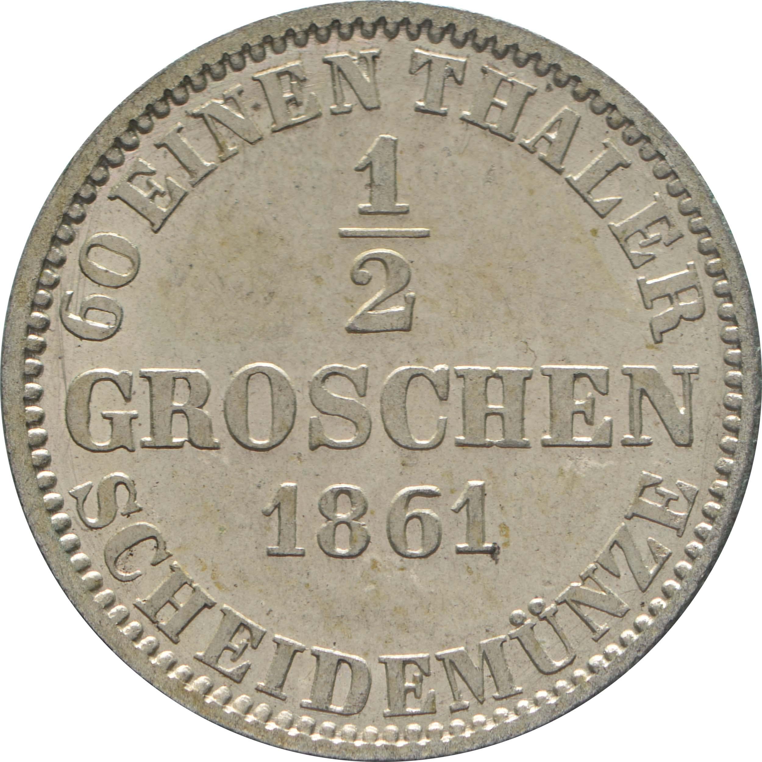 Rückseite:Deutschland : 1/2 Groschen  !Erhaltung! 1861 vz/Stgl.