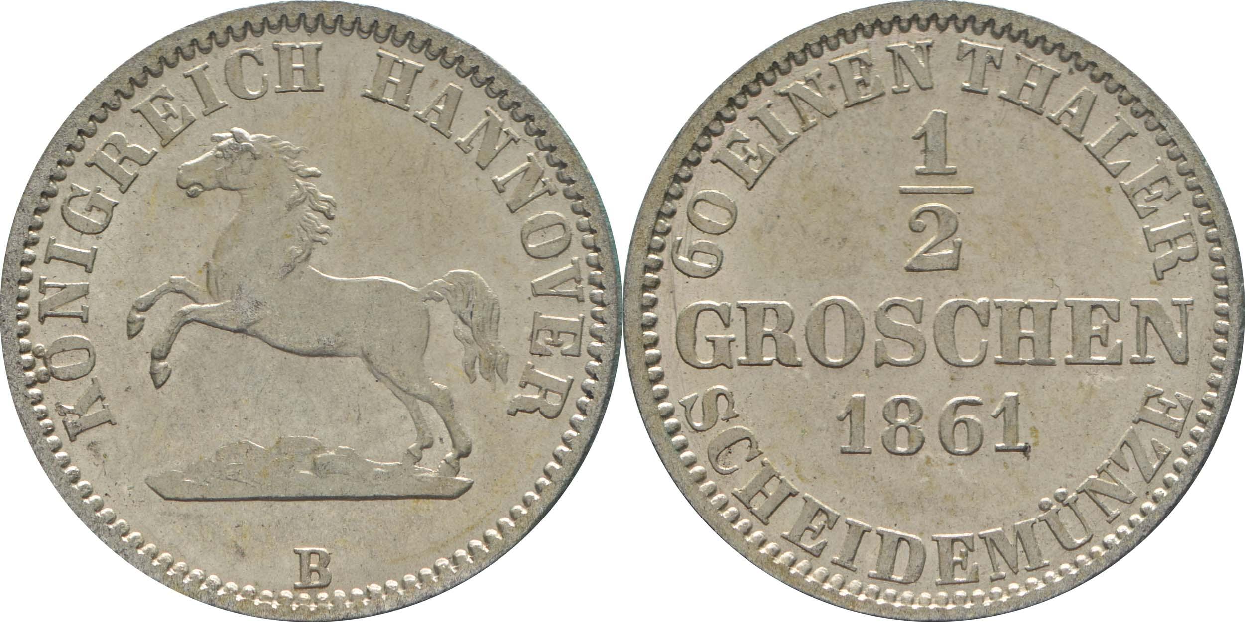 Übersicht:Deutschland : 1/2 Groschen  !Erhaltung! 1861 vz/Stgl.