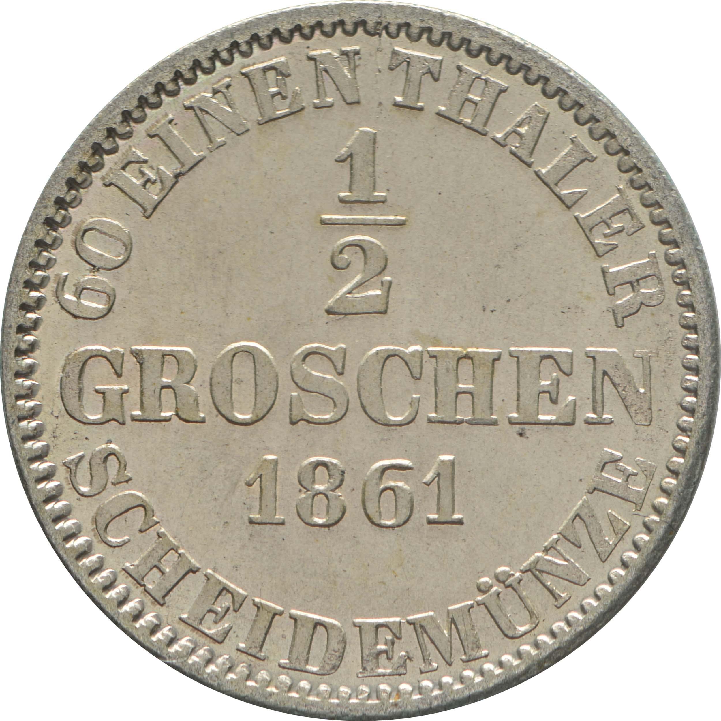 Rückseite:Deutschland : 1/2 Groschen  -fein- 1861 Stgl.